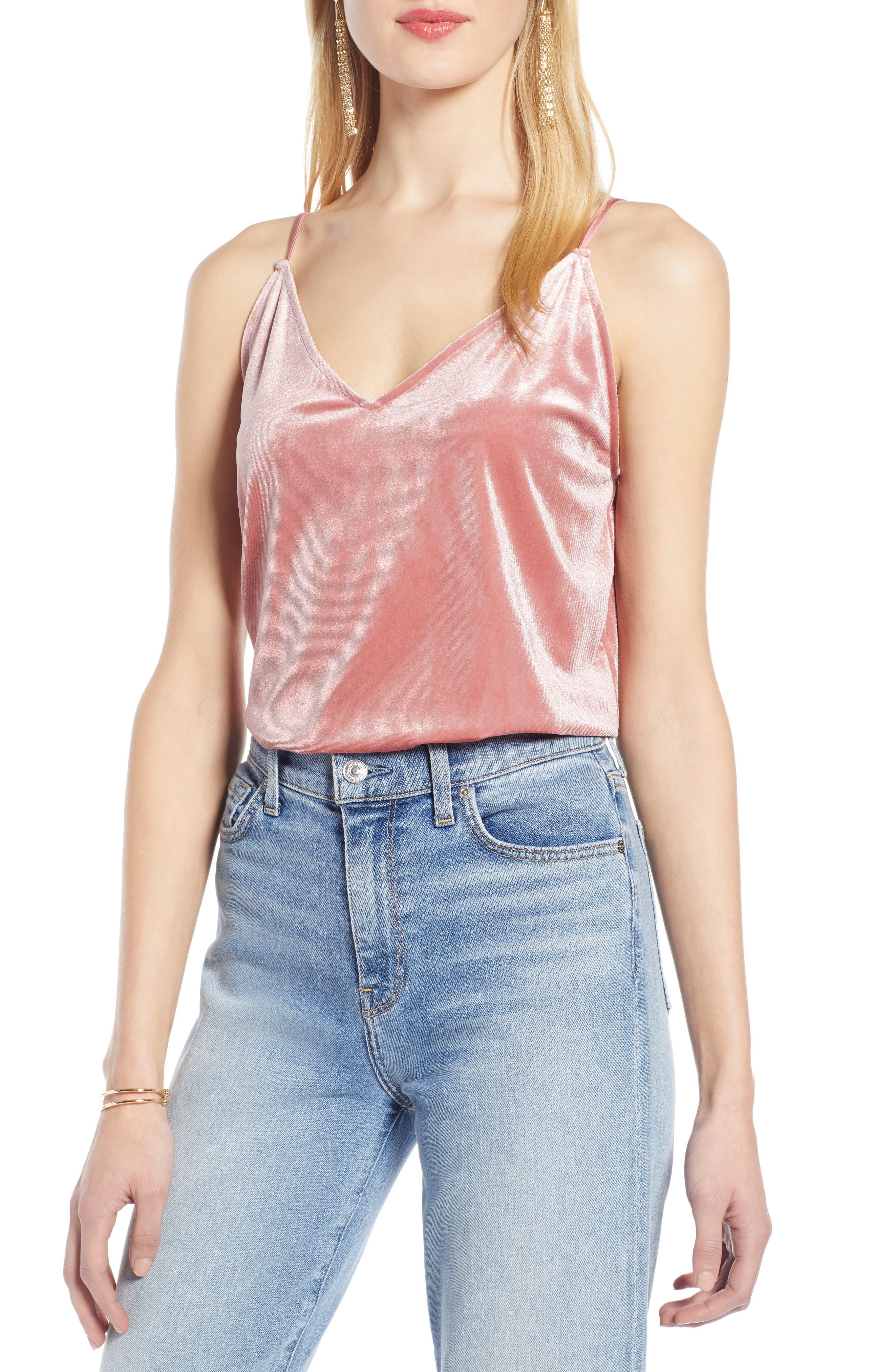 Halogen Velvet Camisole, Pink