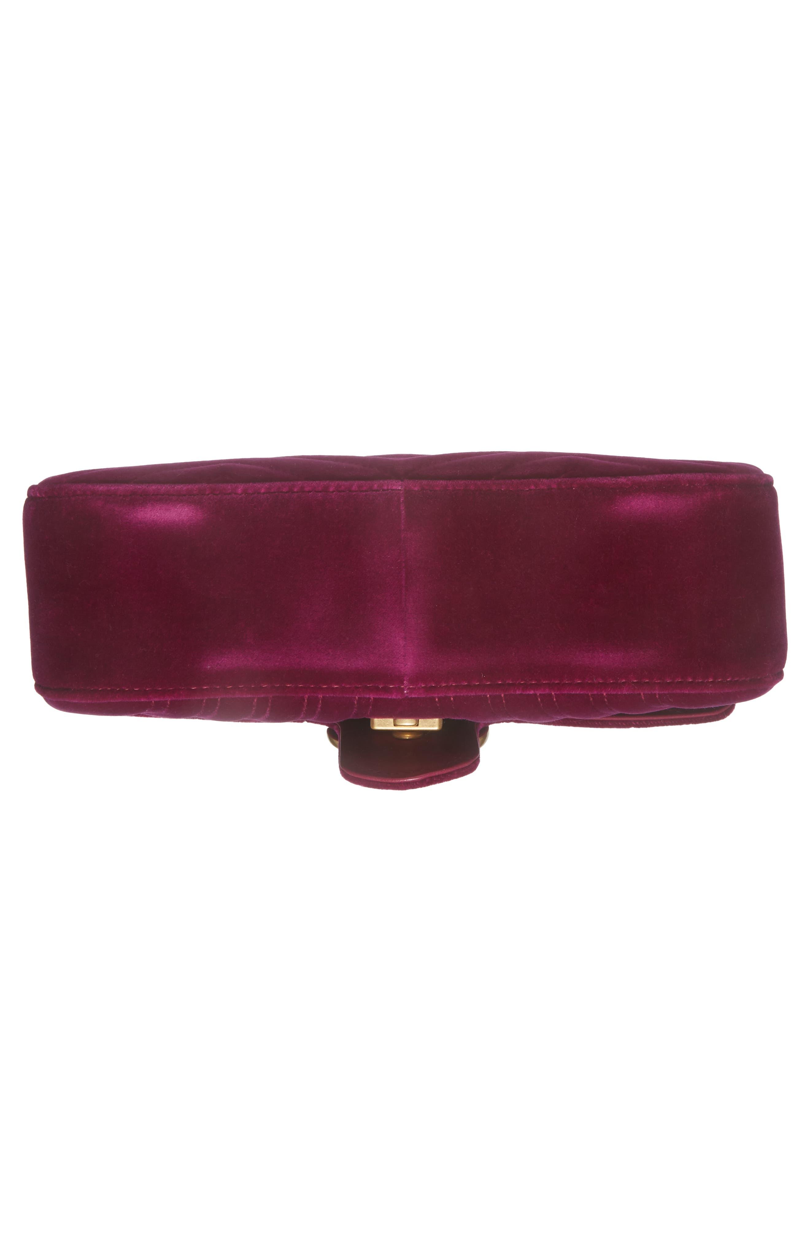 GUCCI,                             Medium GG Marmont 2.0 Matelassé Velvet Shoulder Bag,                             Alternate thumbnail 6, color,                             FUCSIA