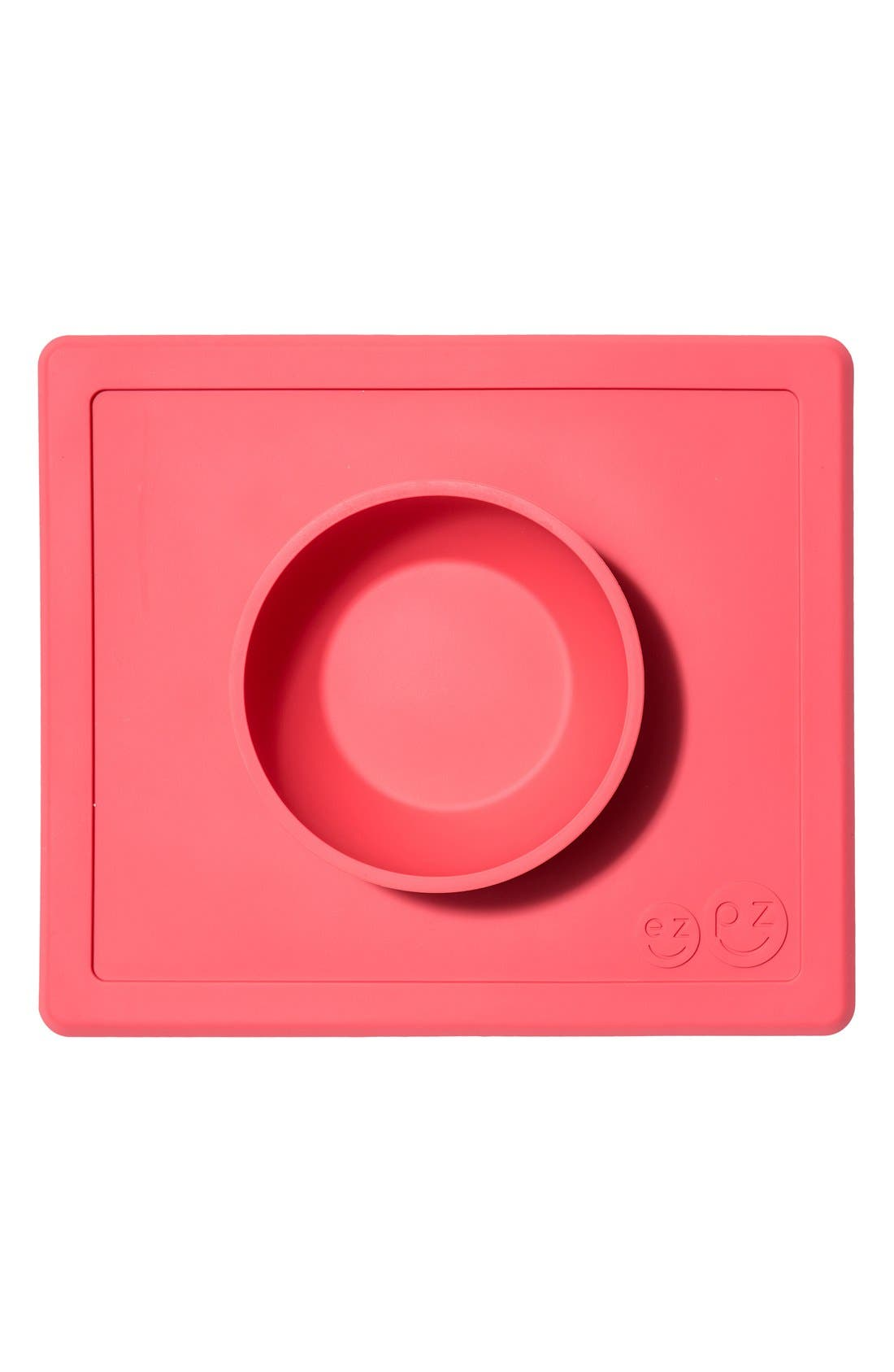 'Happy Bowl' Silicone Feeding Mat,                             Main thumbnail 1, color,                             CORAL