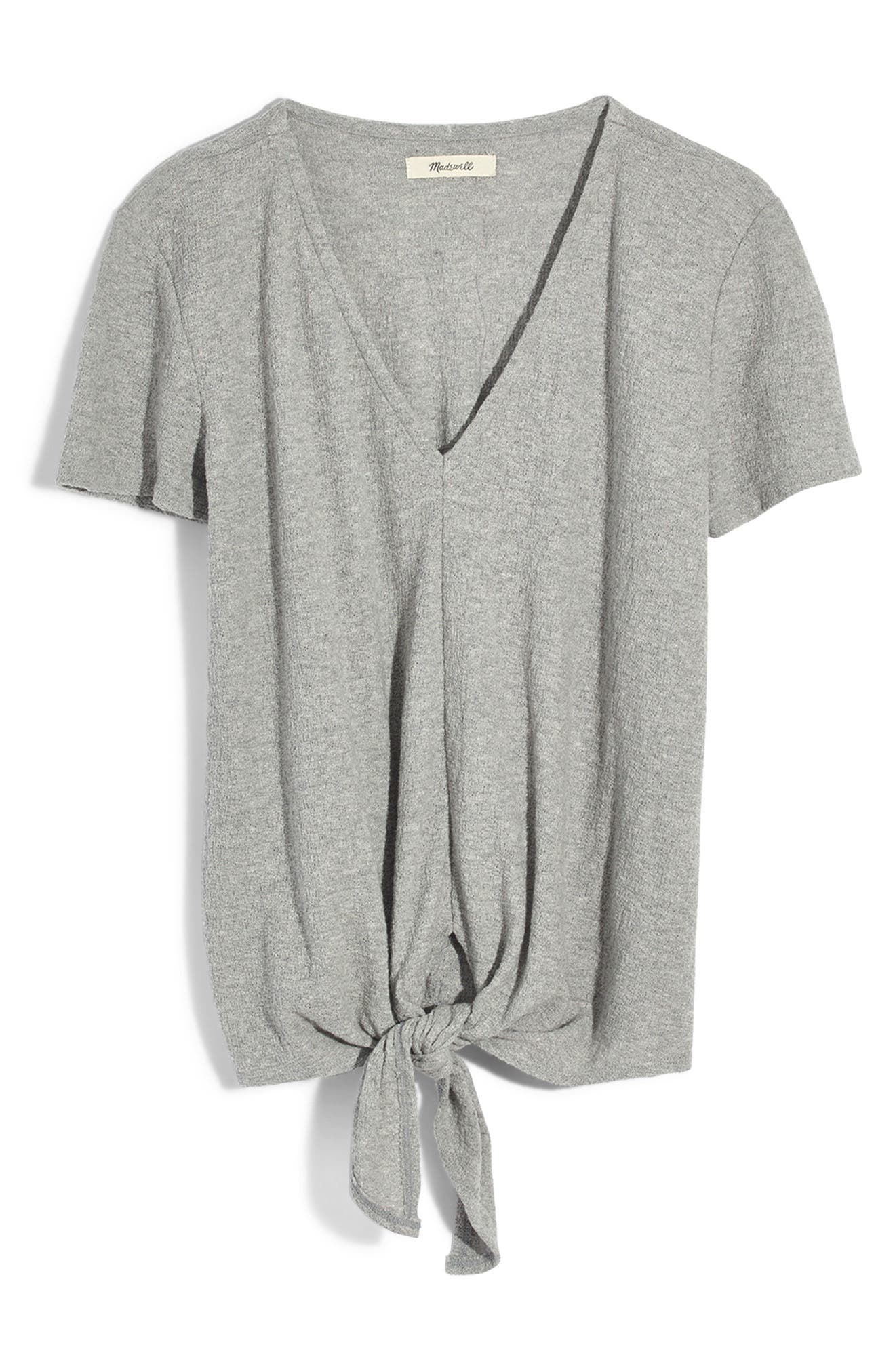 Texture & Thread V-Neck Modern Tie-Front Top,                             Alternate thumbnail 3, color,                             HEATHER PELICAN