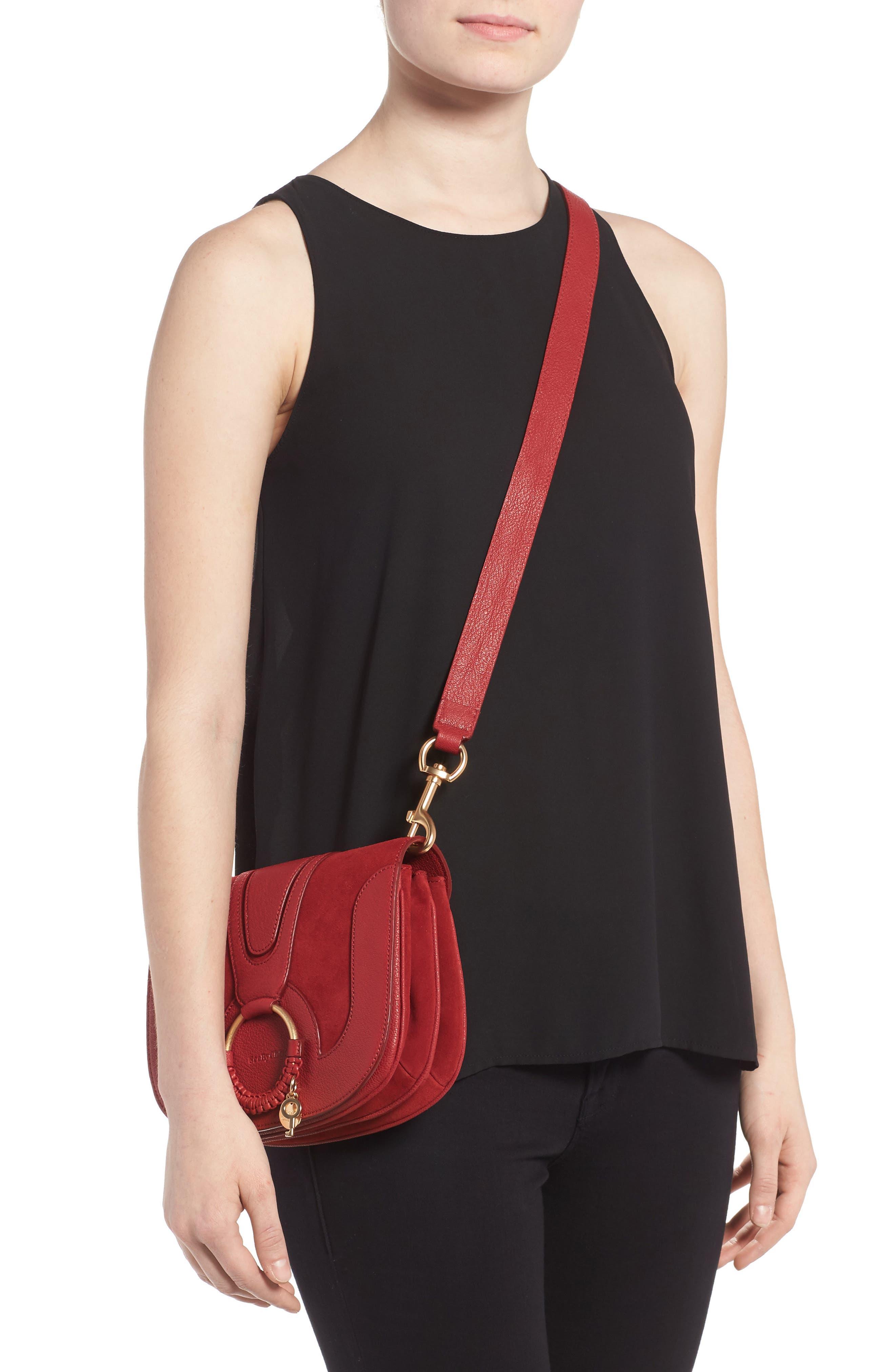 Hana Small Leather Crossbody Bag,                             Alternate thumbnail 15, color,