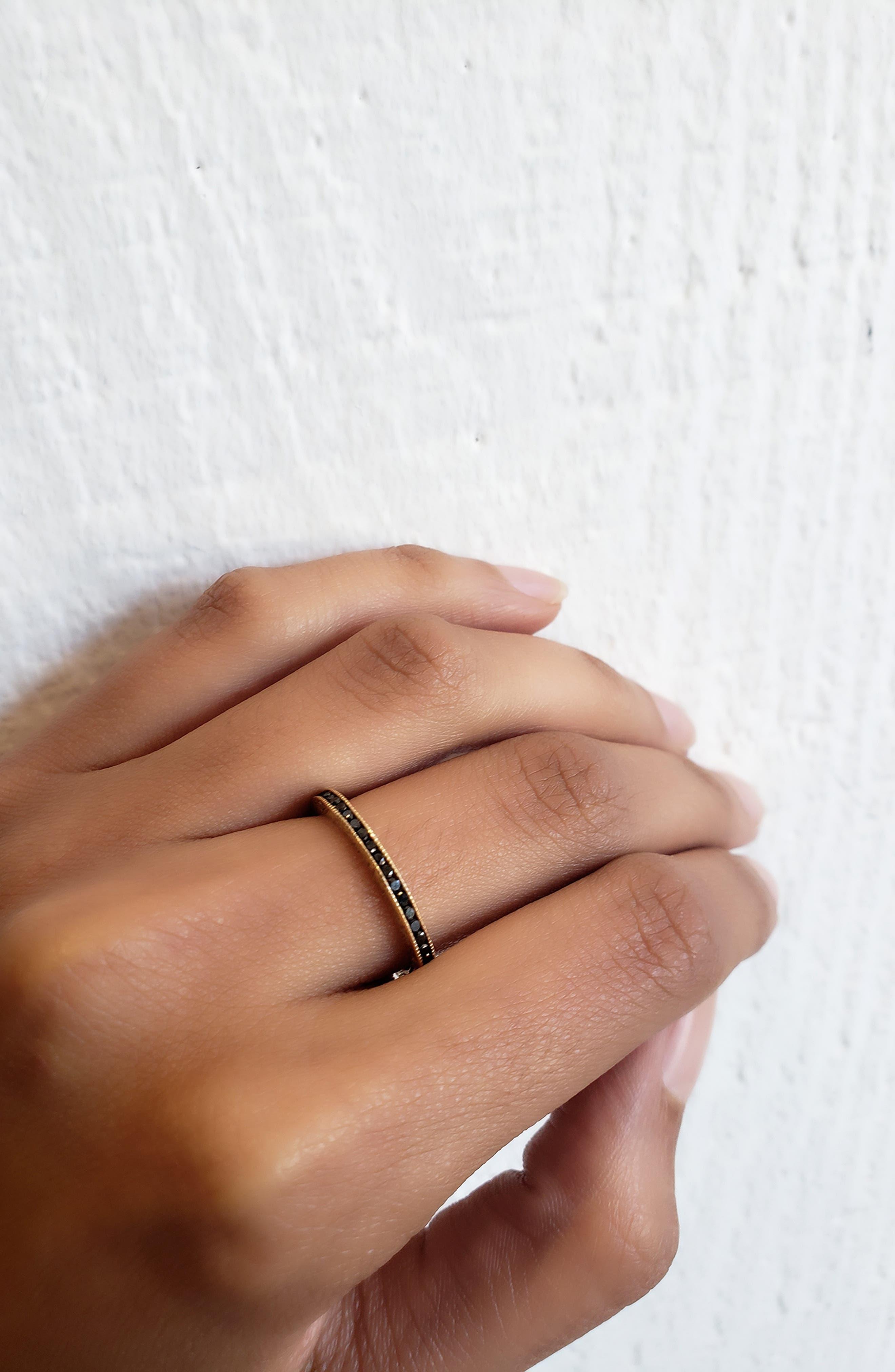 Channel Set Diamond Ring,                             Alternate thumbnail 2, color,                             ROSE GOLD/ BLACK DIAMOND