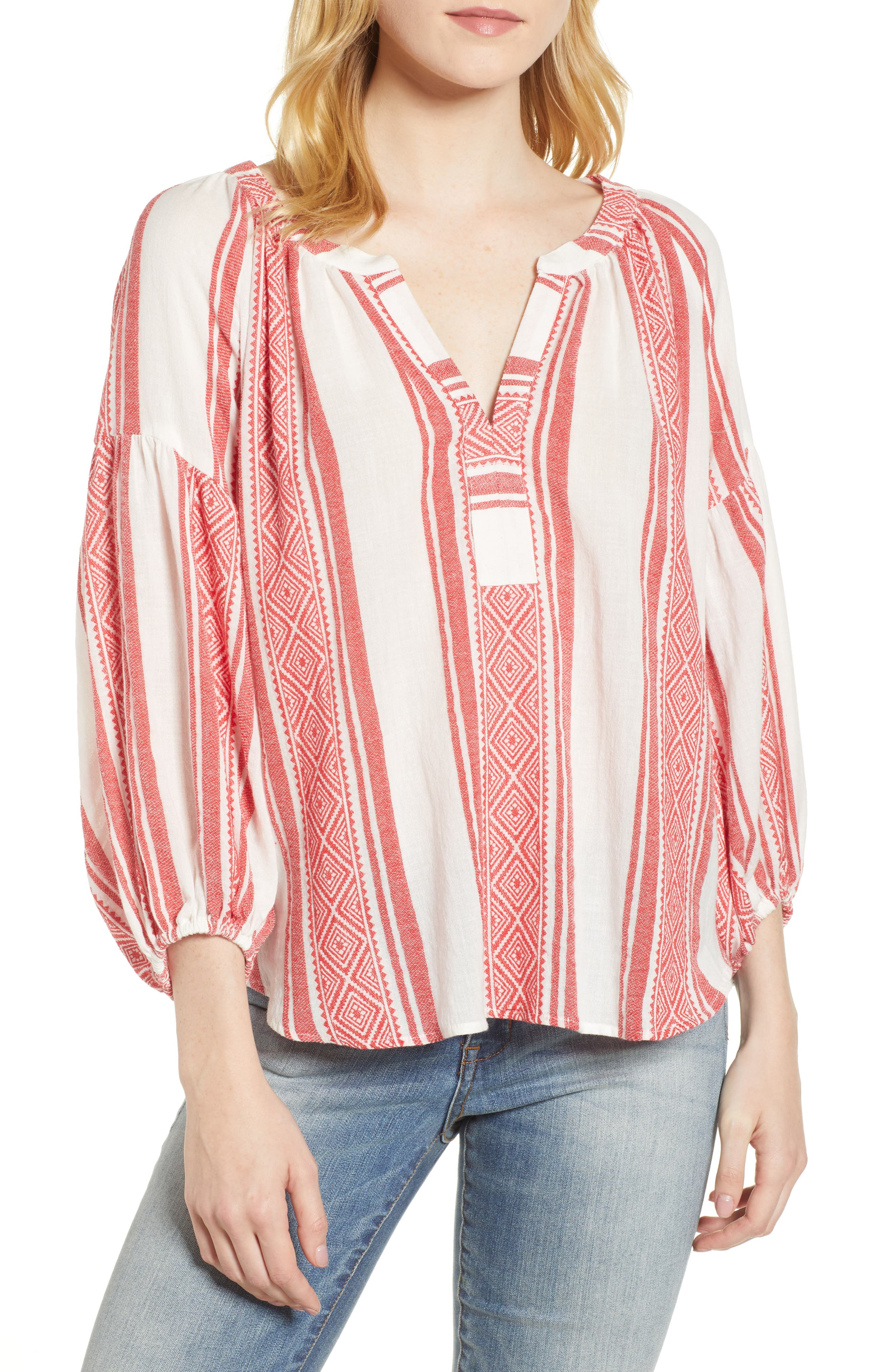 Jacquard Stripe Peasant Blouse,                         Main,                         color,