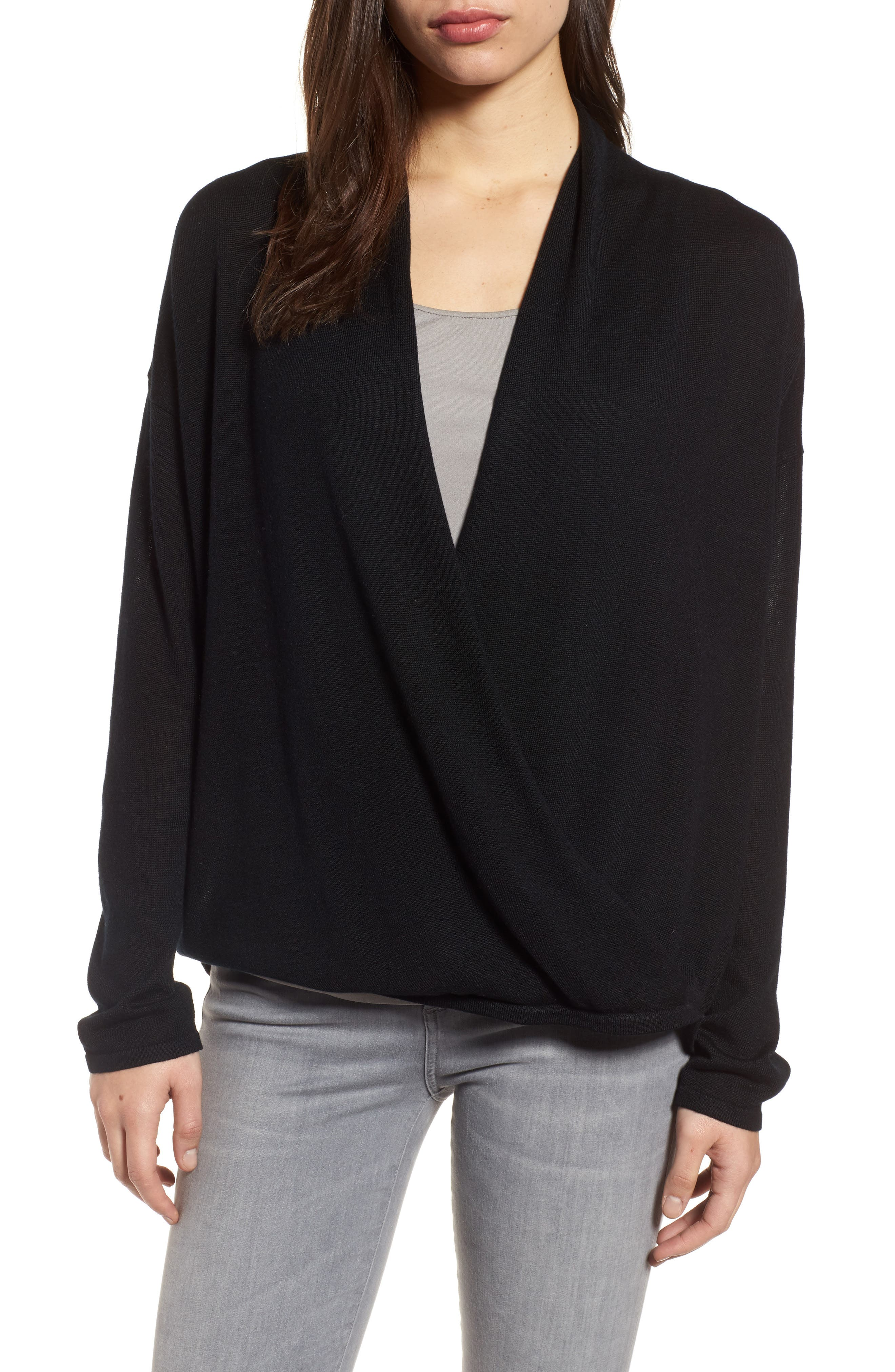 Faux Wrap Tencel<sup>®</sup> Lyocell & Merino Wool Sweater,                         Main,                         color, 001