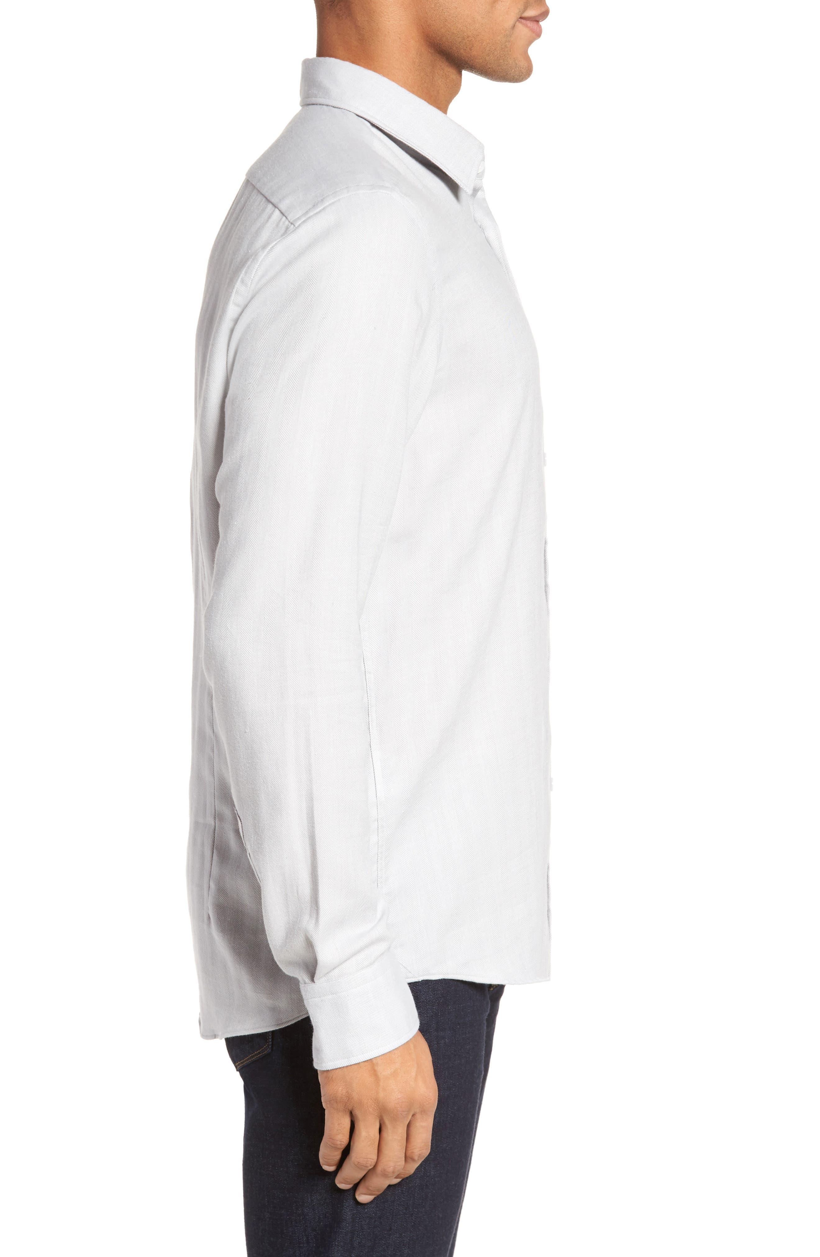 Landon Herringbone Shirt,                             Alternate thumbnail 3, color,