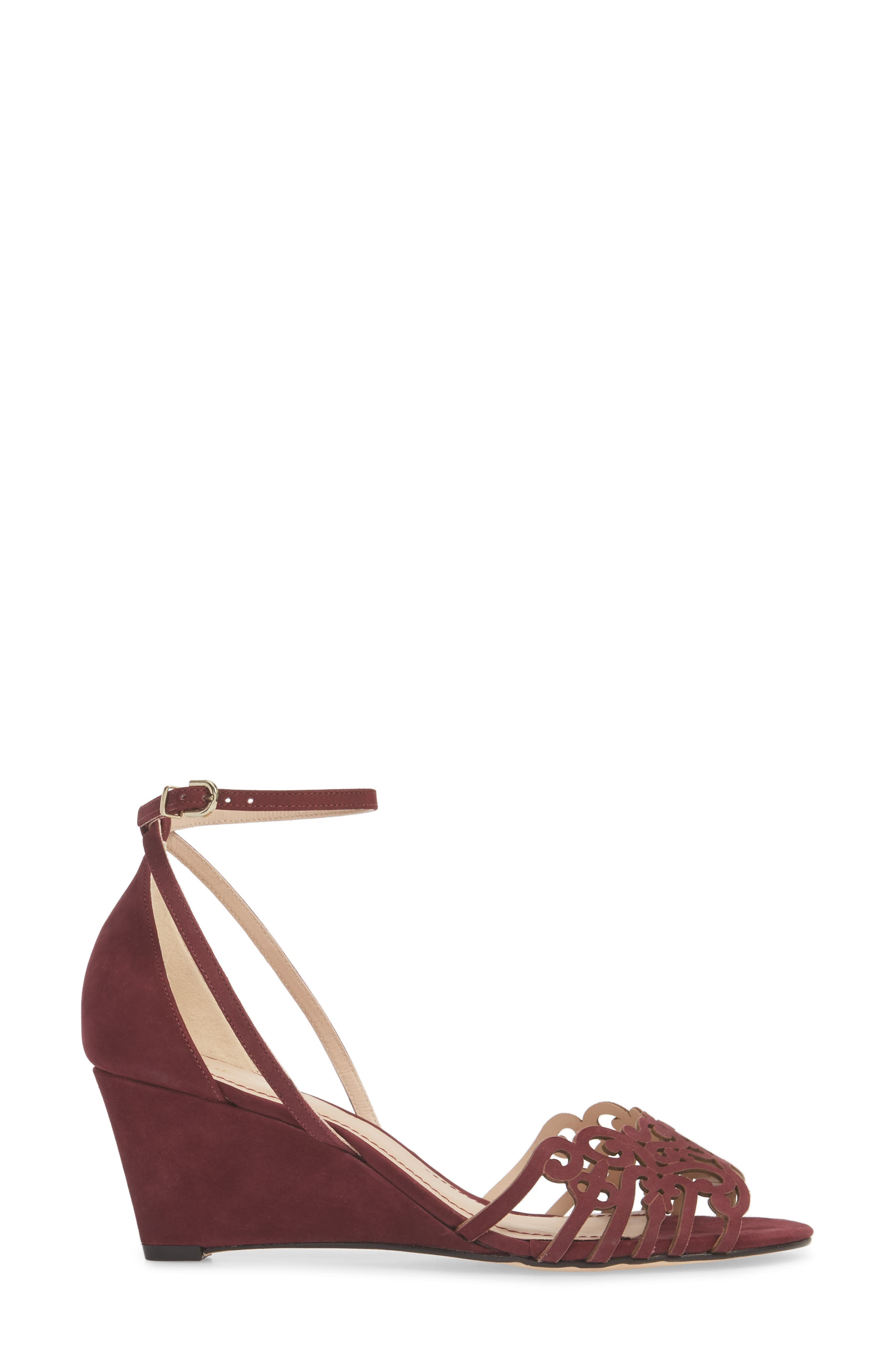 'Kingston' Ankle Strap Wedge Sandal,                             Alternate thumbnail 3, color,                             WINE LEATHER