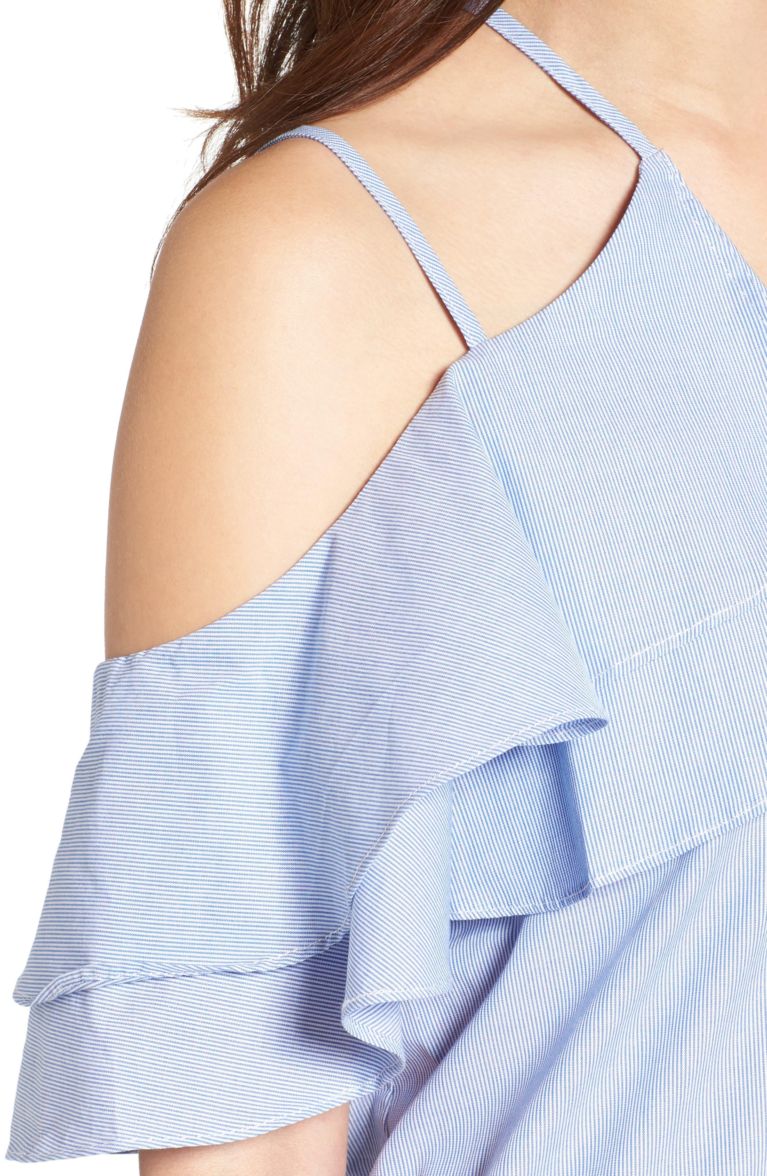 Cotton Ruffle Off the Shoulder Blouse,                             Alternate thumbnail 4, color,                             454