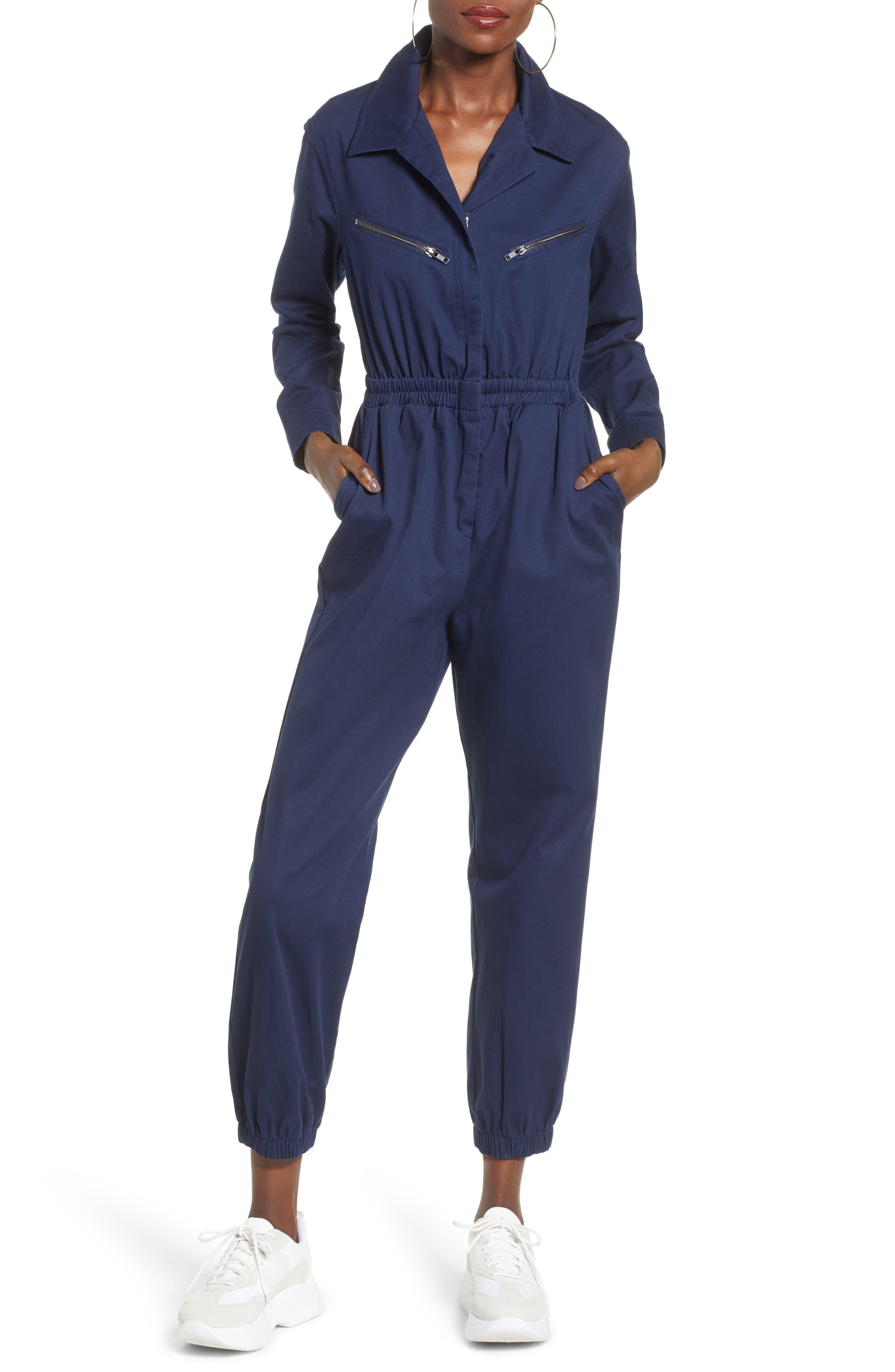 TEN SIXTY SHERMAN,                             Twill Workwear Jumpsuit,                             Main thumbnail 1, color,                             OXFORD BLUE