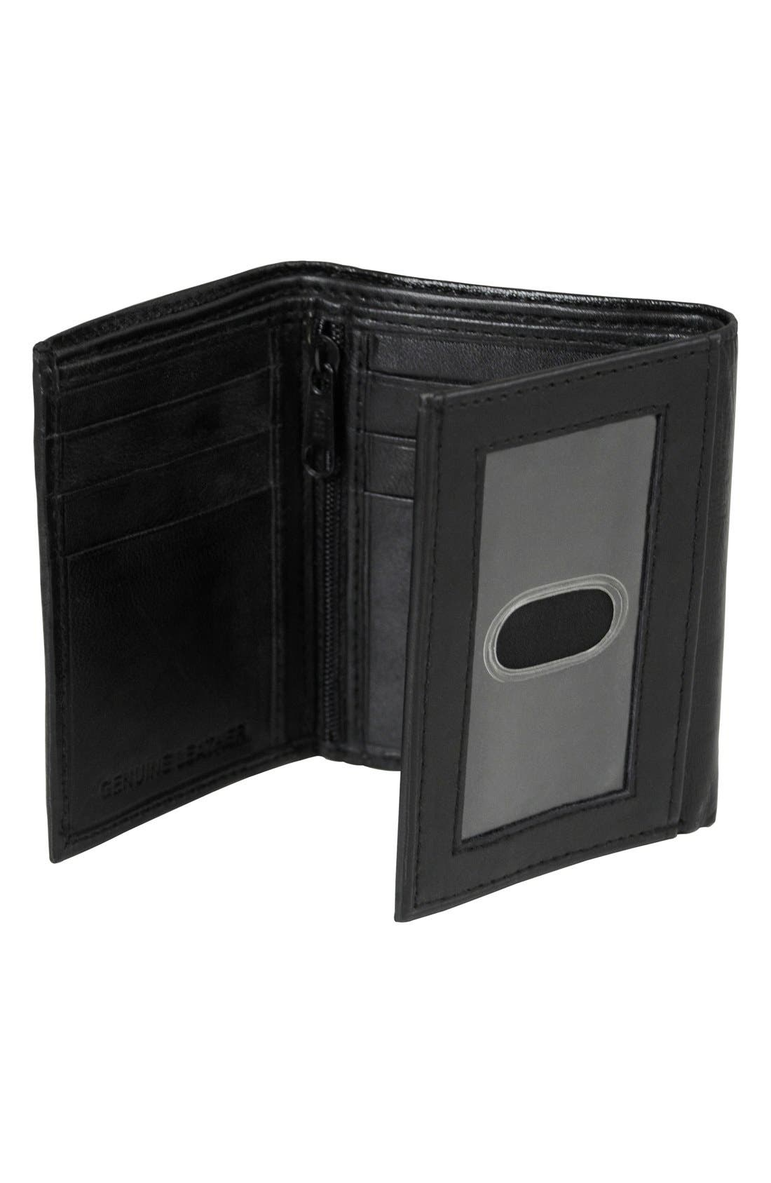 'Oxford' Monogram Leather Trifold Wallet,                             Alternate thumbnail 3, color,                             005