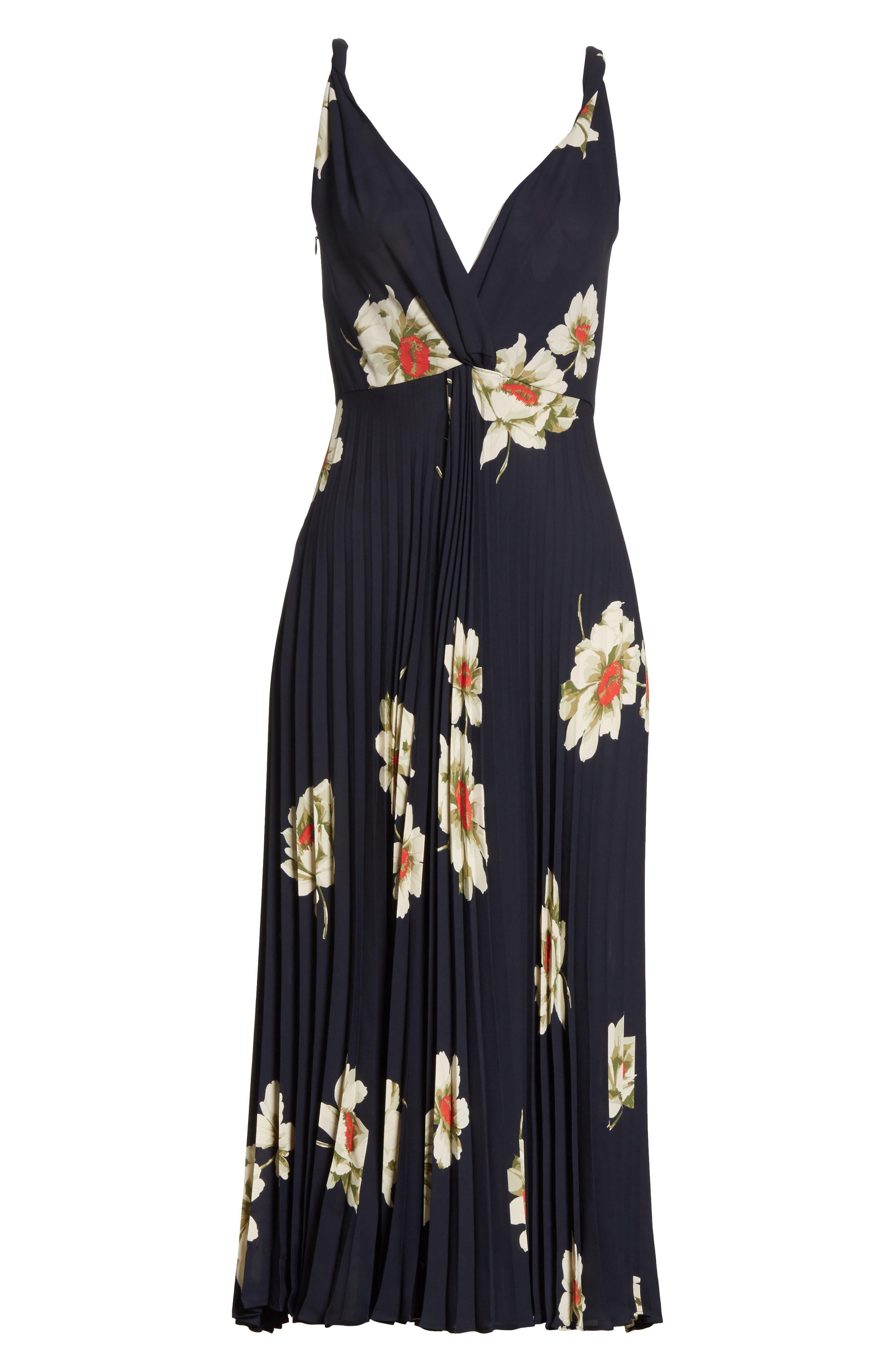 Gardenia Floral Midi Dress,                             Alternate thumbnail 6, color,                             403