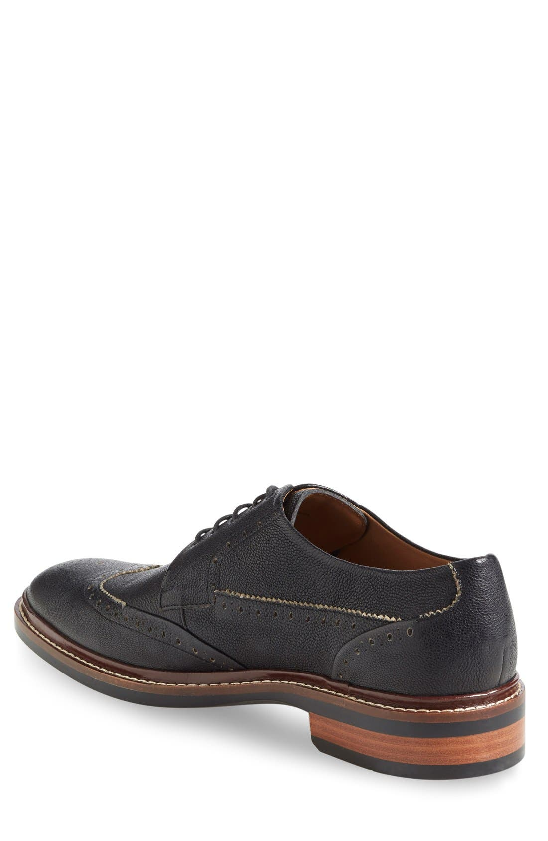 Warren Welt Wingtip,                             Alternate thumbnail 2, color,                             BLACK MILL LEATHER