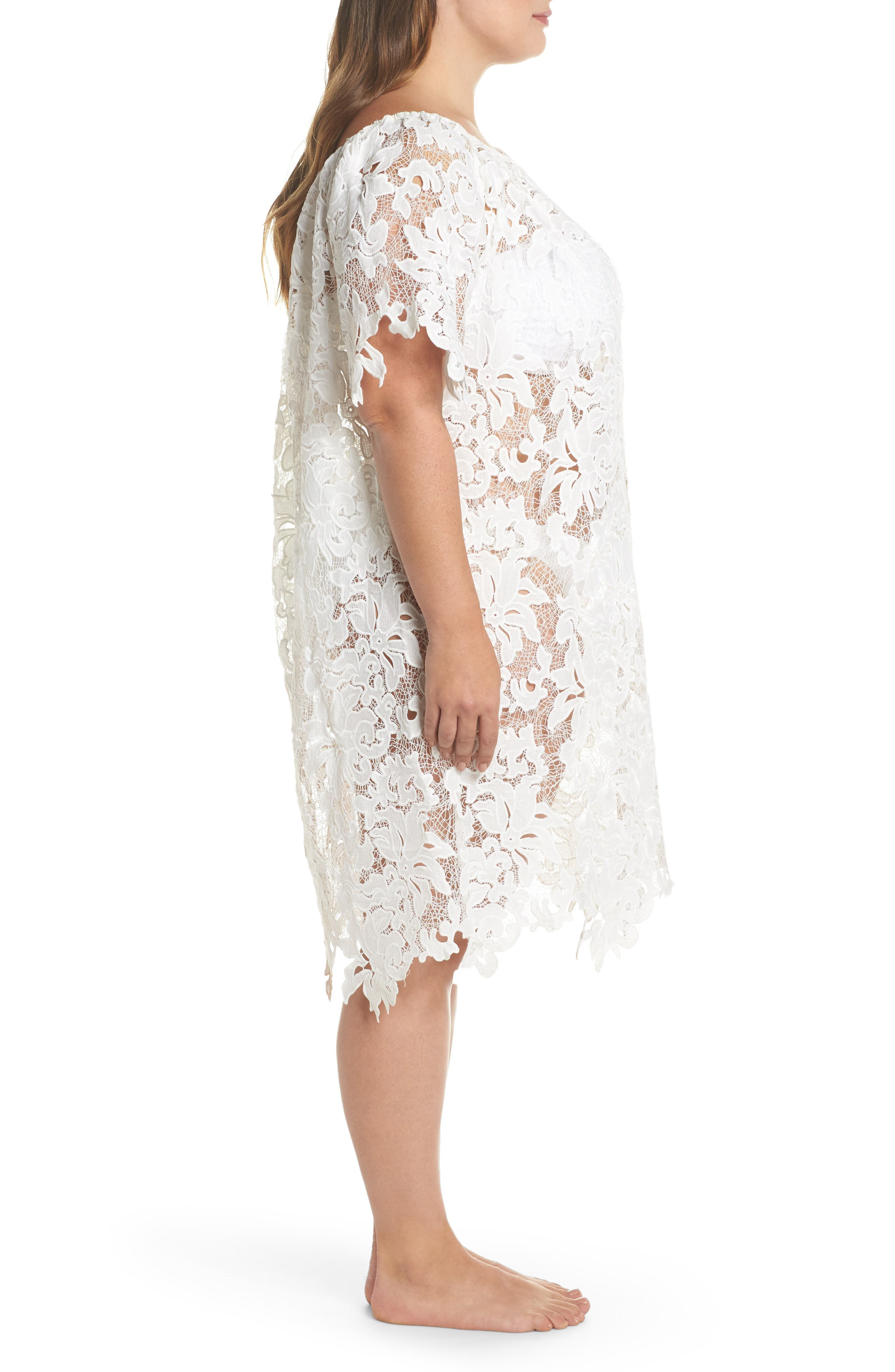 Ode Lace Cover-Up Dress,                             Alternate thumbnail 3, color,                             100