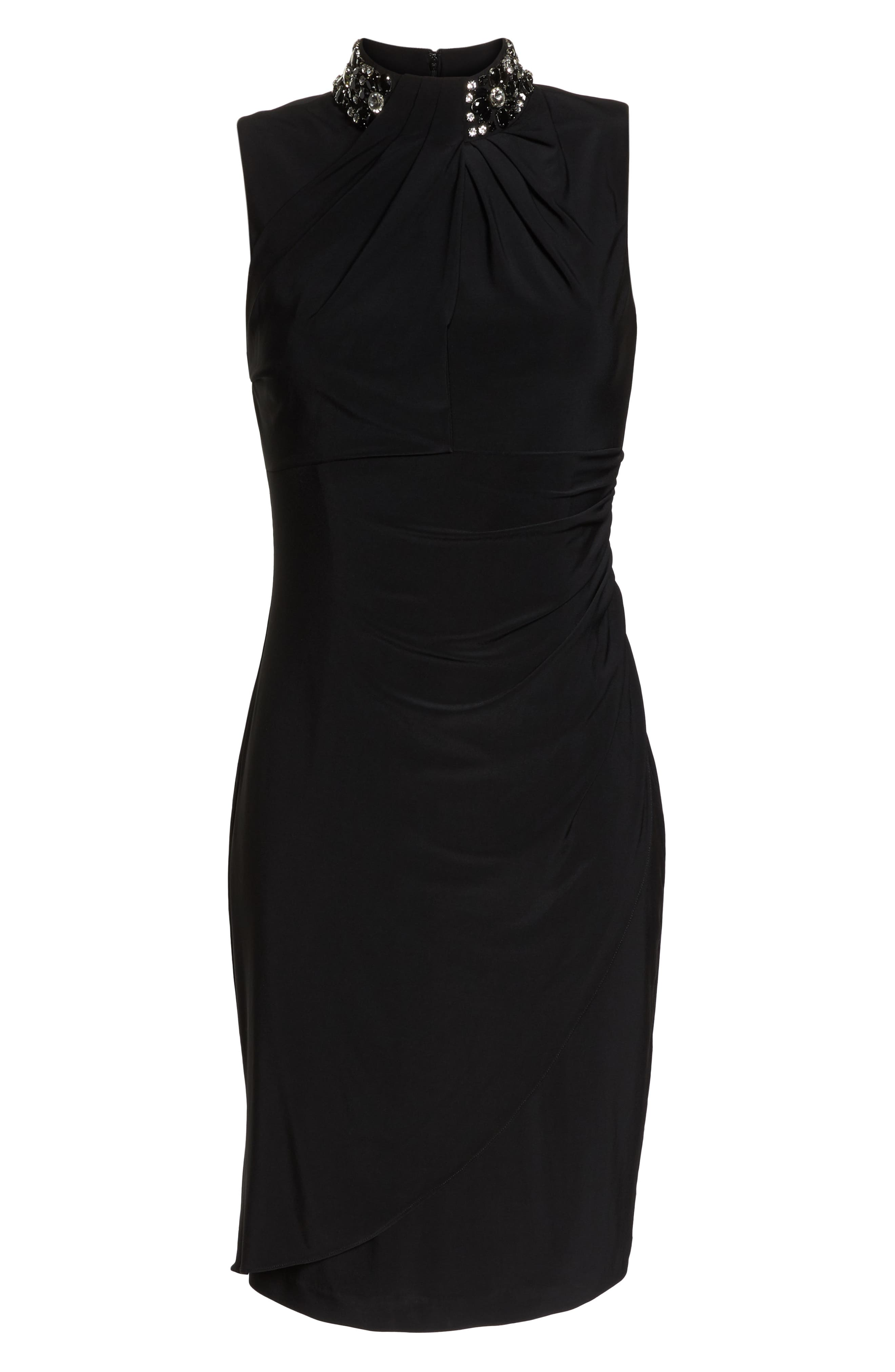 Ruched Cocktail Sheath,                             Alternate thumbnail 7, color,                             BLACK