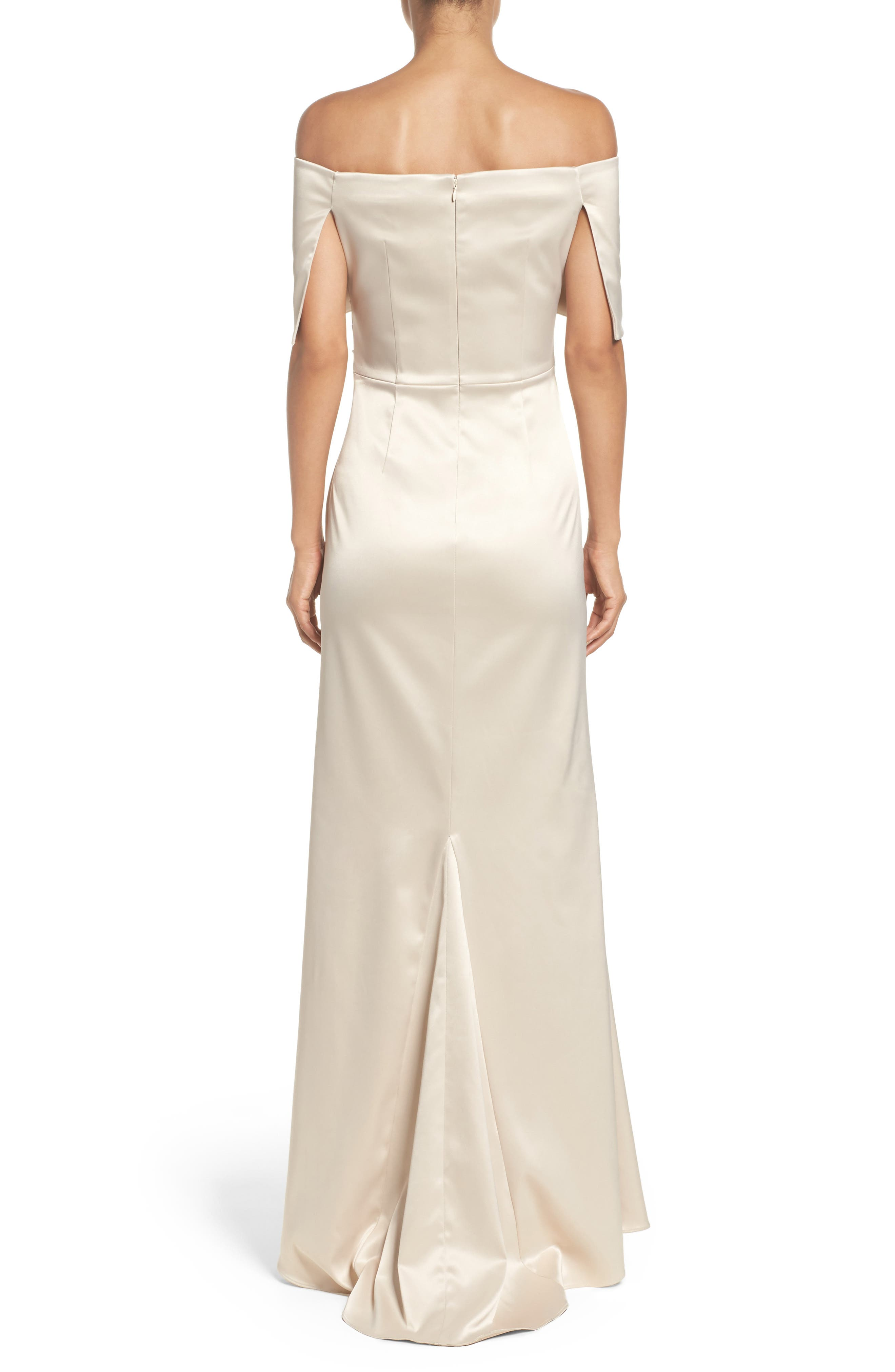 VINCE CAMUTO,                             Off the Shoulder Gown,                             Alternate thumbnail 2, color,                             CHAMPAGNE