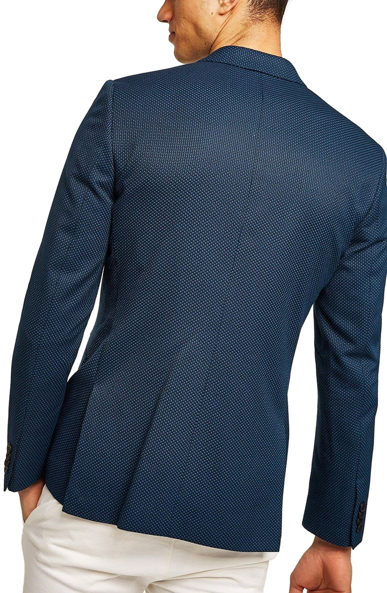 Skinny Fit Pin Dot Suit Jacket,                             Alternate thumbnail 2, color,                             DARK BLUE