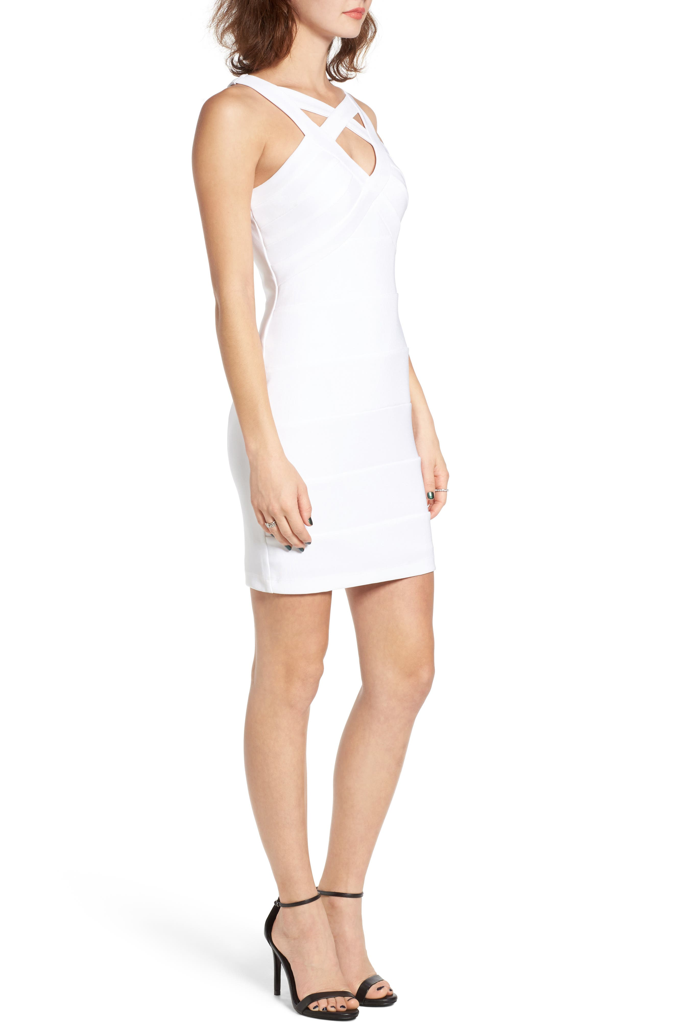 Cross Front Body-Con Dress,                             Alternate thumbnail 14, color,