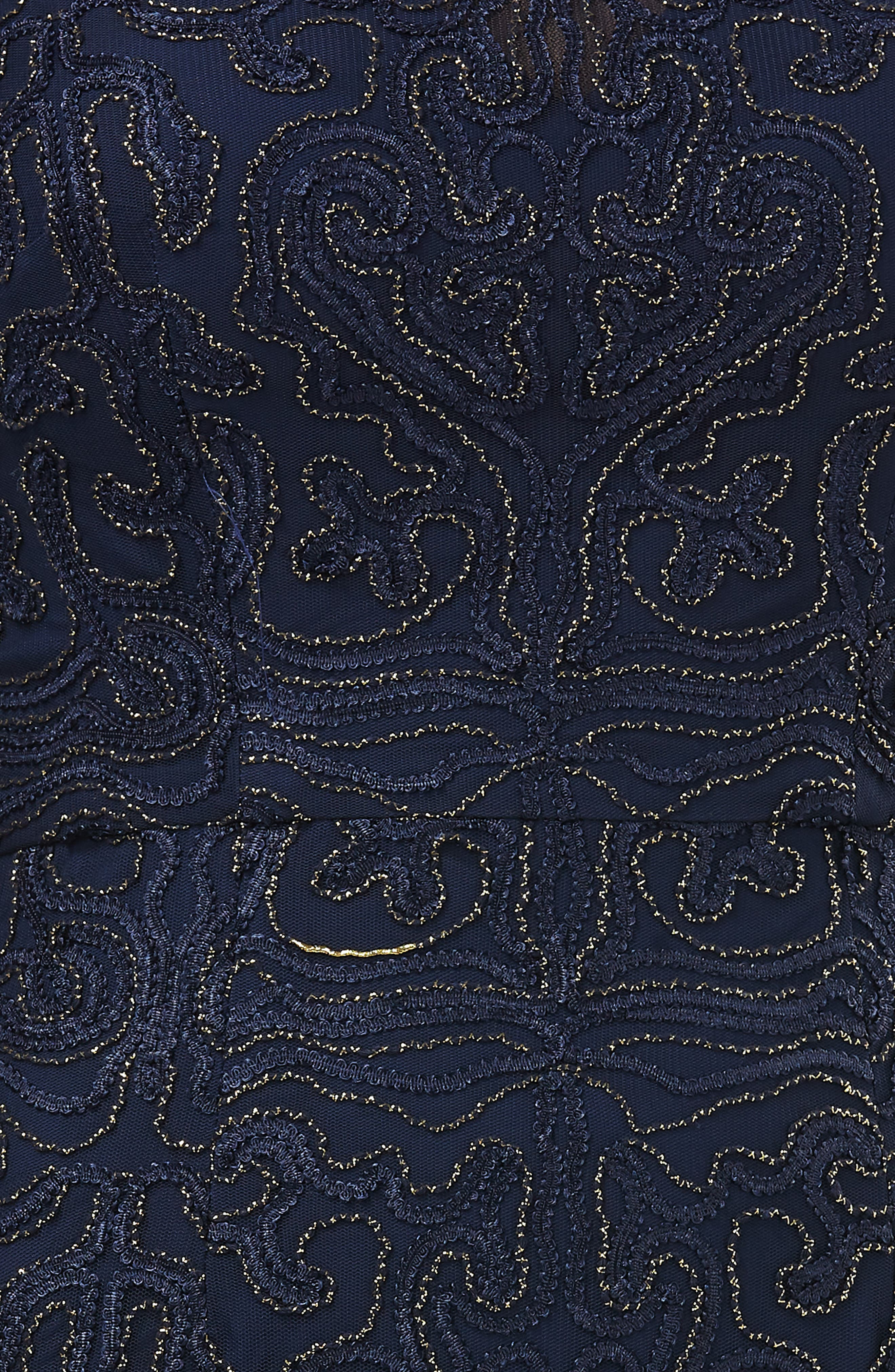 Metallic Soutache Evening Dress,                             Alternate thumbnail 4, color,                             NAVY/ GOLD