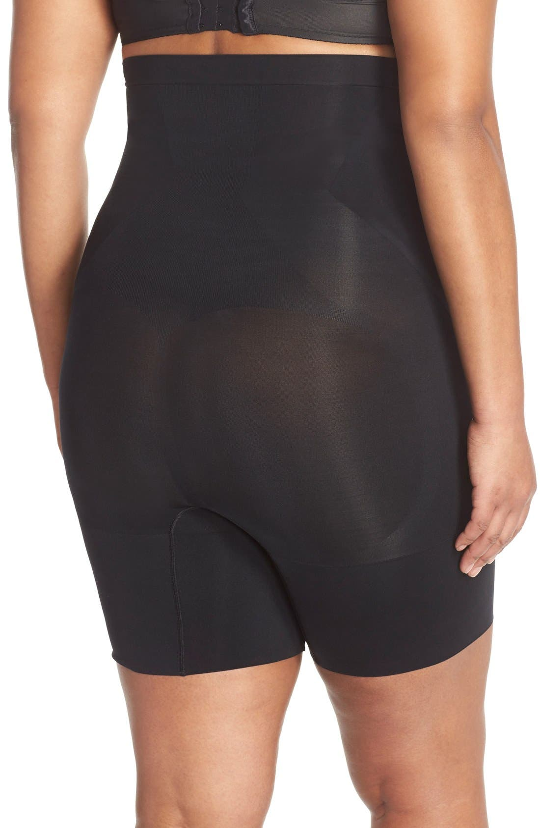 OnCore High Waist Mid-Thigh Shorts,                             Alternate thumbnail 4, color,                             VERY BLACK