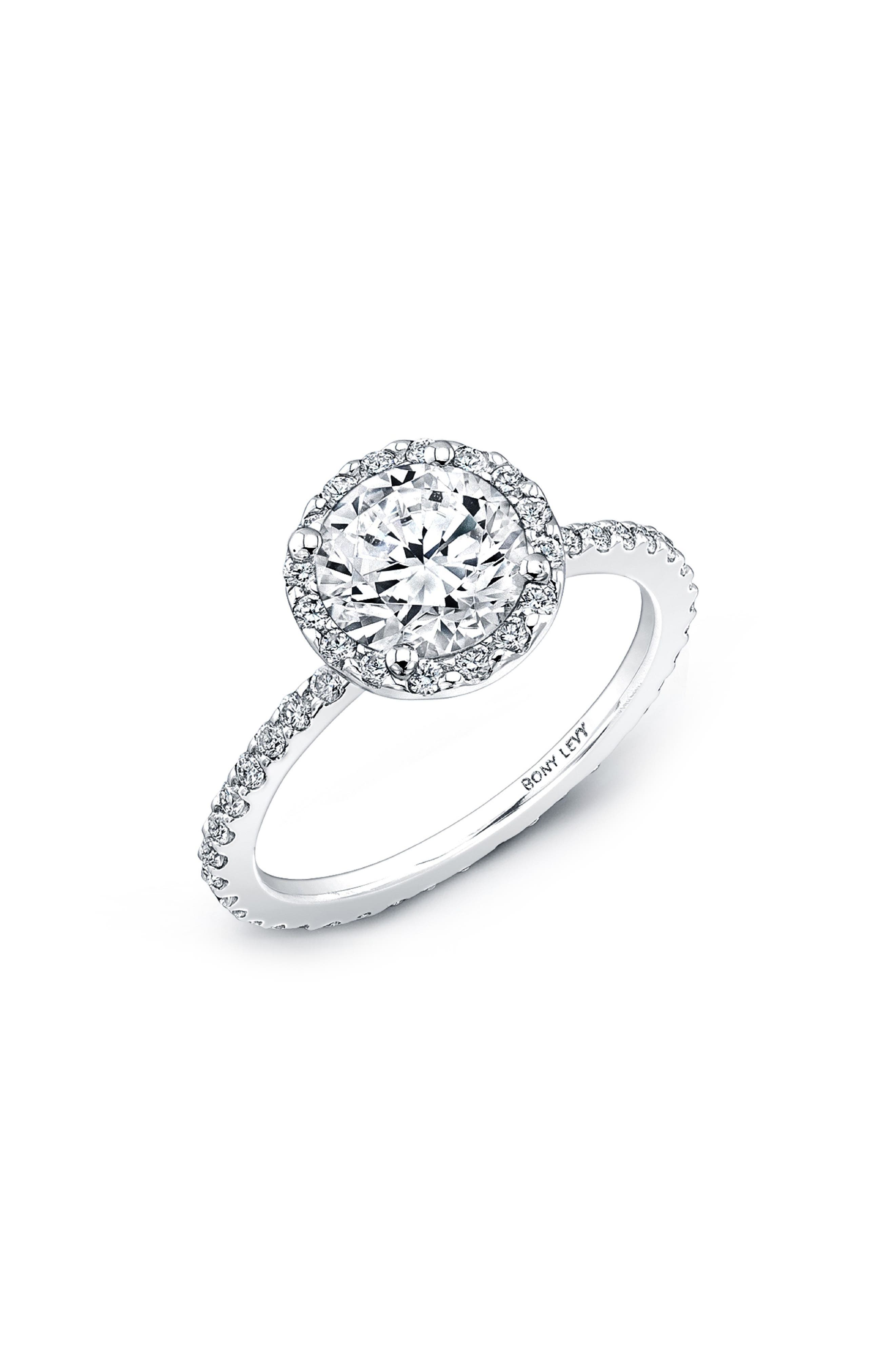 Pavé Halo Round Engagement Ring Setting,                             Main thumbnail 1, color,                             711