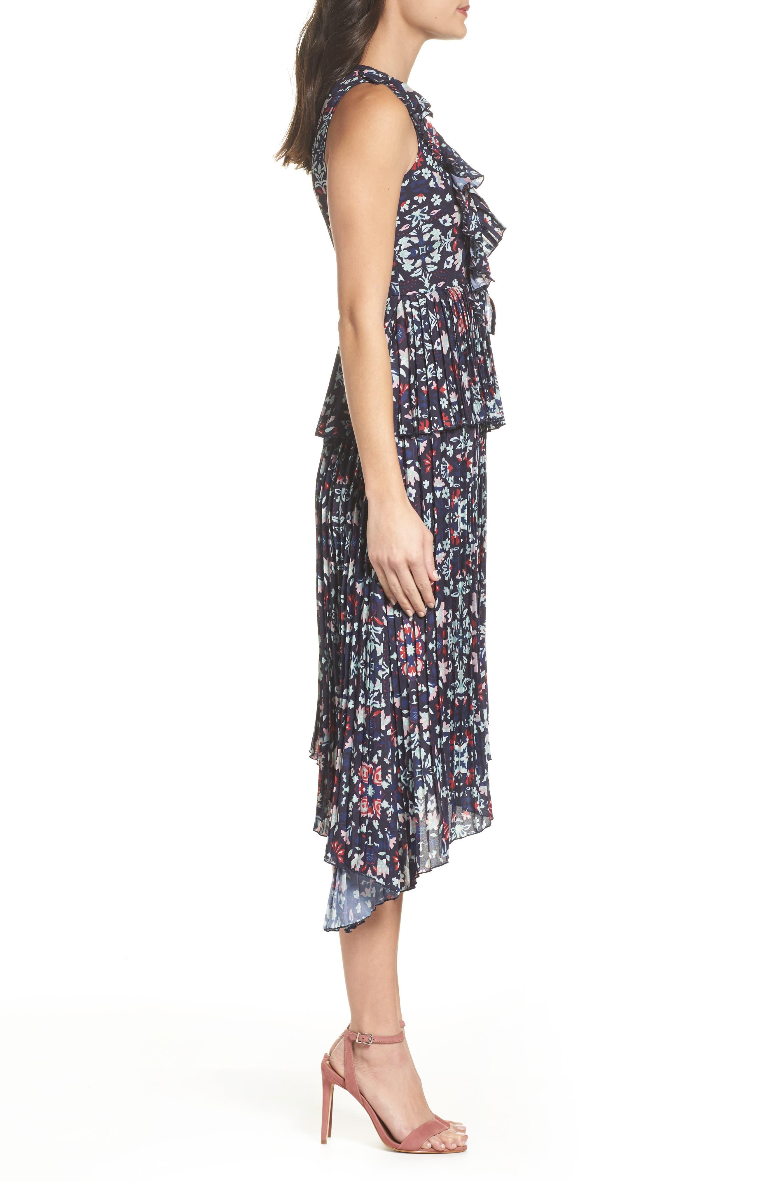 Miranda Pleat Ruffle Dress,                             Alternate thumbnail 3, color,                             400