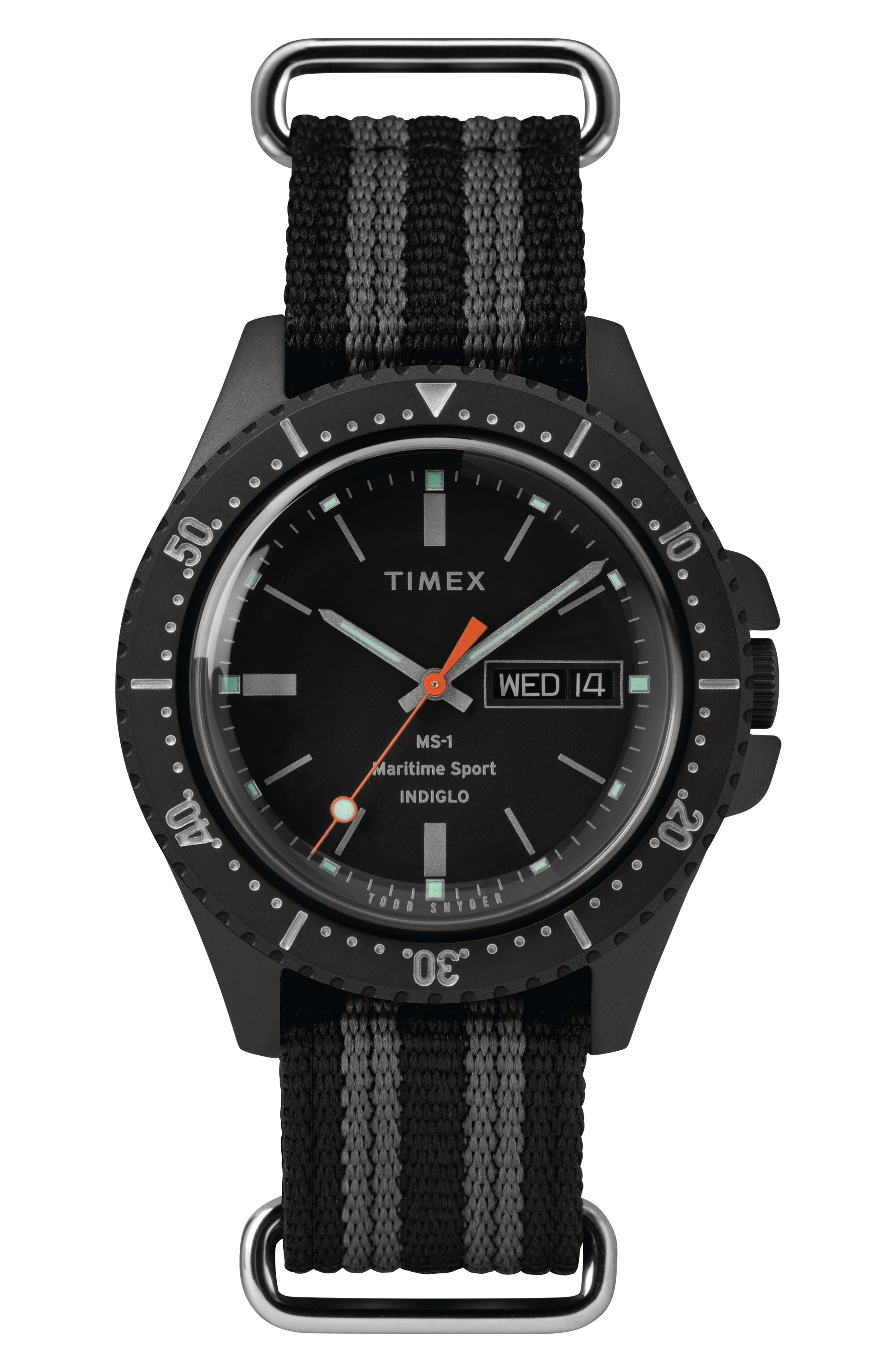 TIMEX<SUP>®</SUP> X TODD SNYDER,                             The Maritime NATO Strap Watch, 41mm,                             Main thumbnail 1, color,                             BLACK/ BLACK