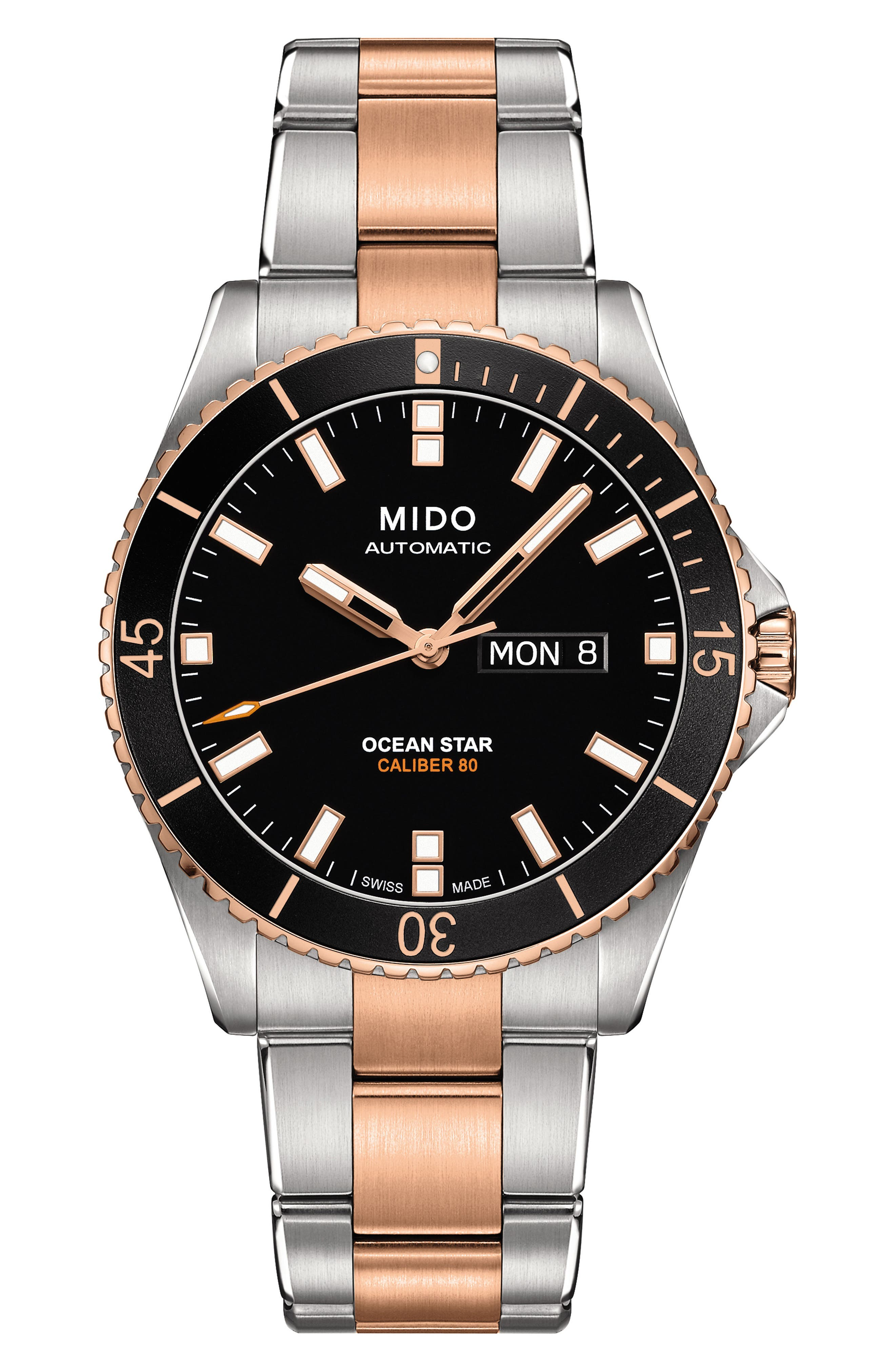 Ocean Star Diver Bracelet Watch, 42mm,                         Main,                         color, SILVER/ BLACK/ SILVER