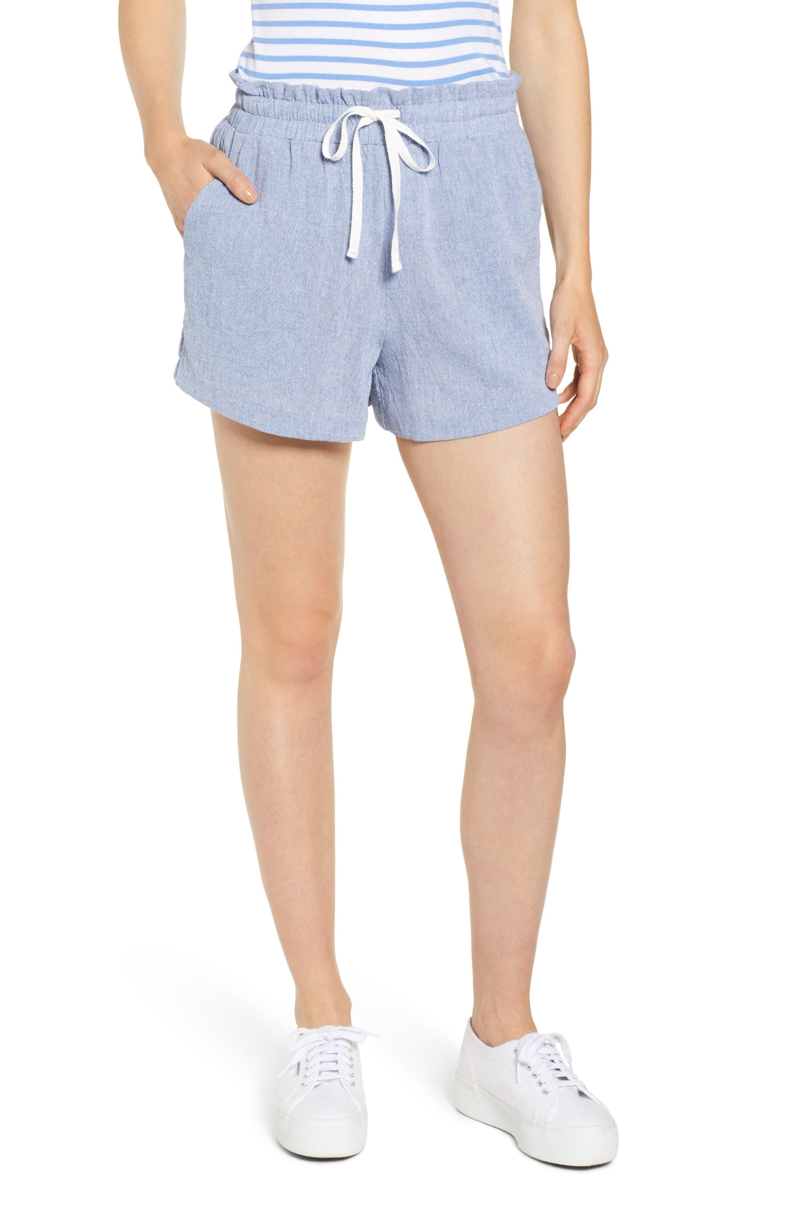 Petite Gibson X Hi Sugarplum! Cabo Drawstring Shorts, Blue