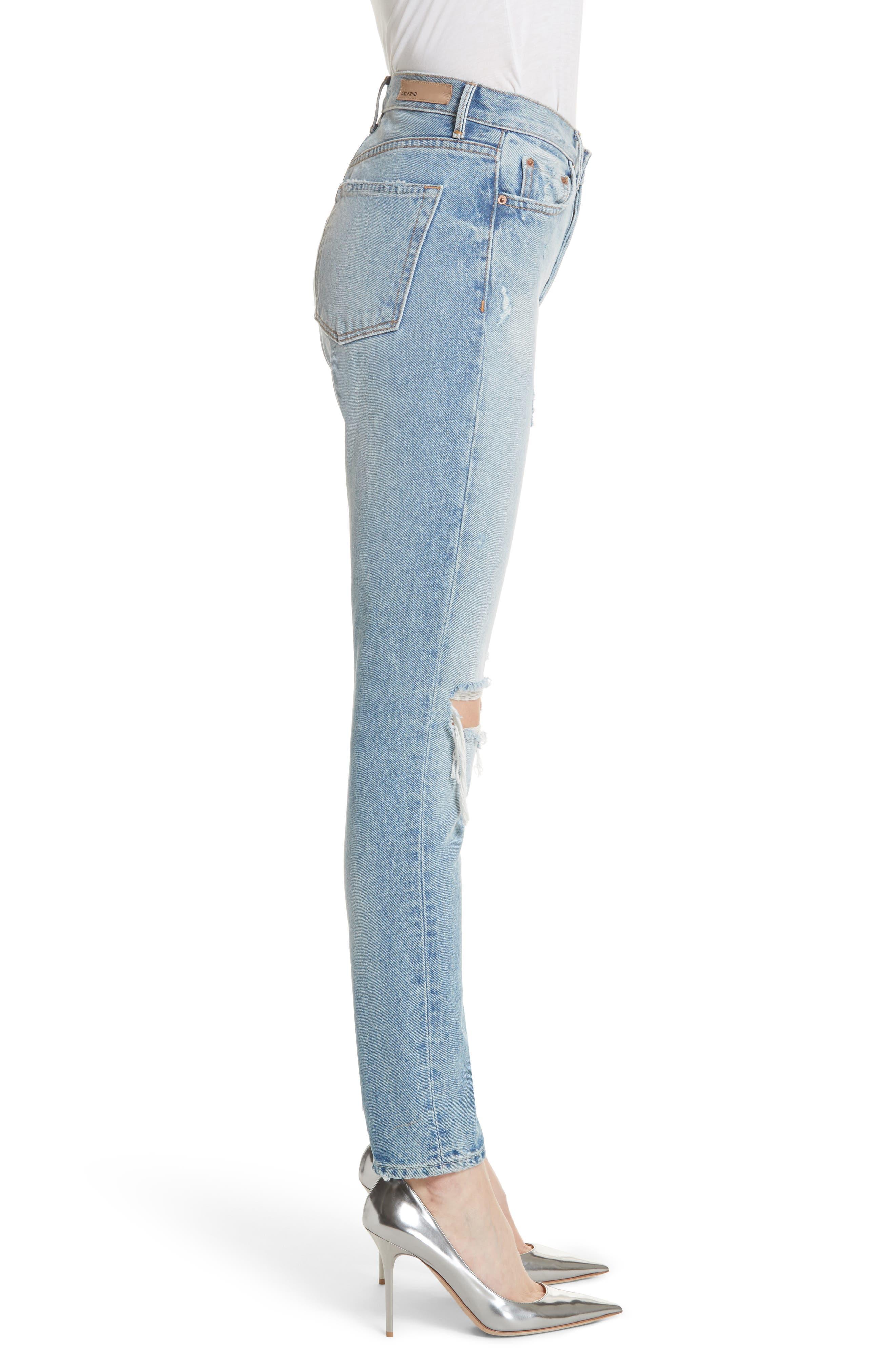 Karolina Ripped Skinny Jeans,                             Alternate thumbnail 3, color,                             TREASURE