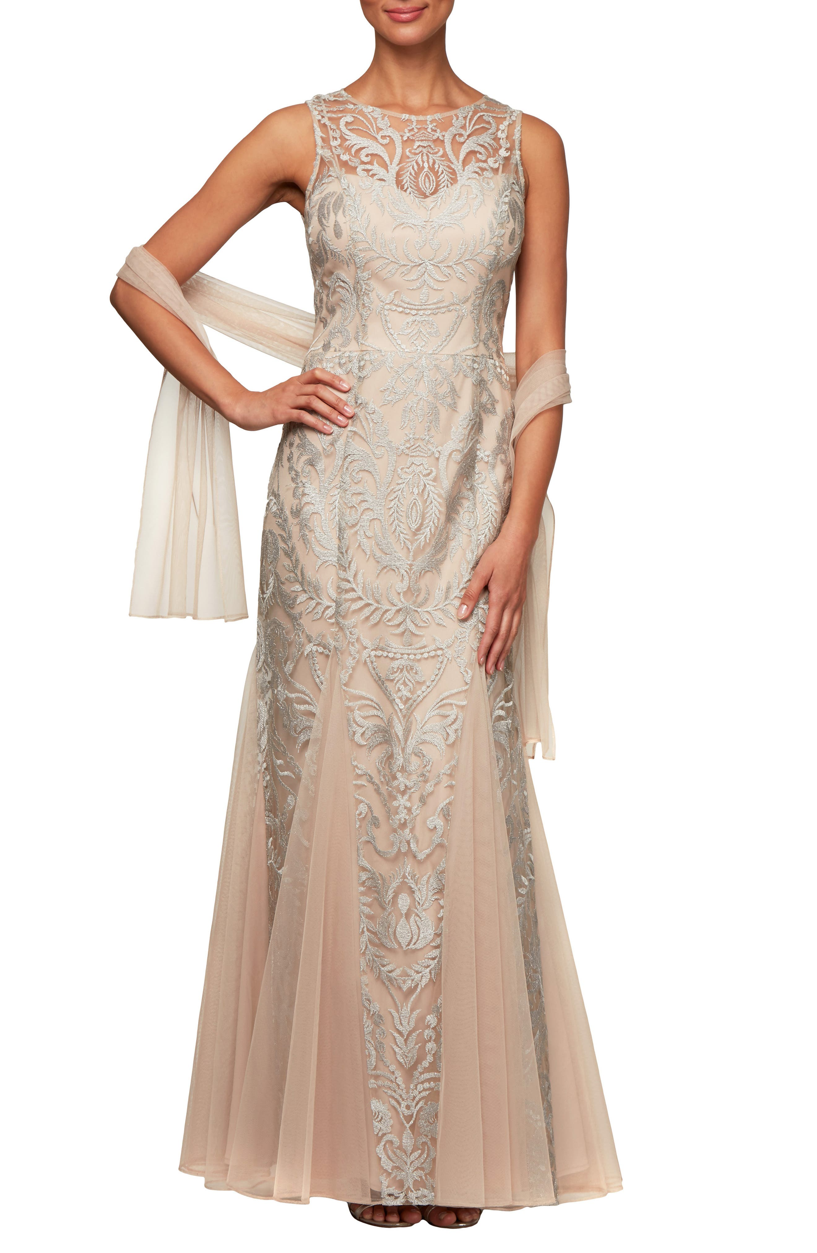 Petite Alex Evenings Embroidered Illusion Mesh Evening Dress With Wrap, Beige