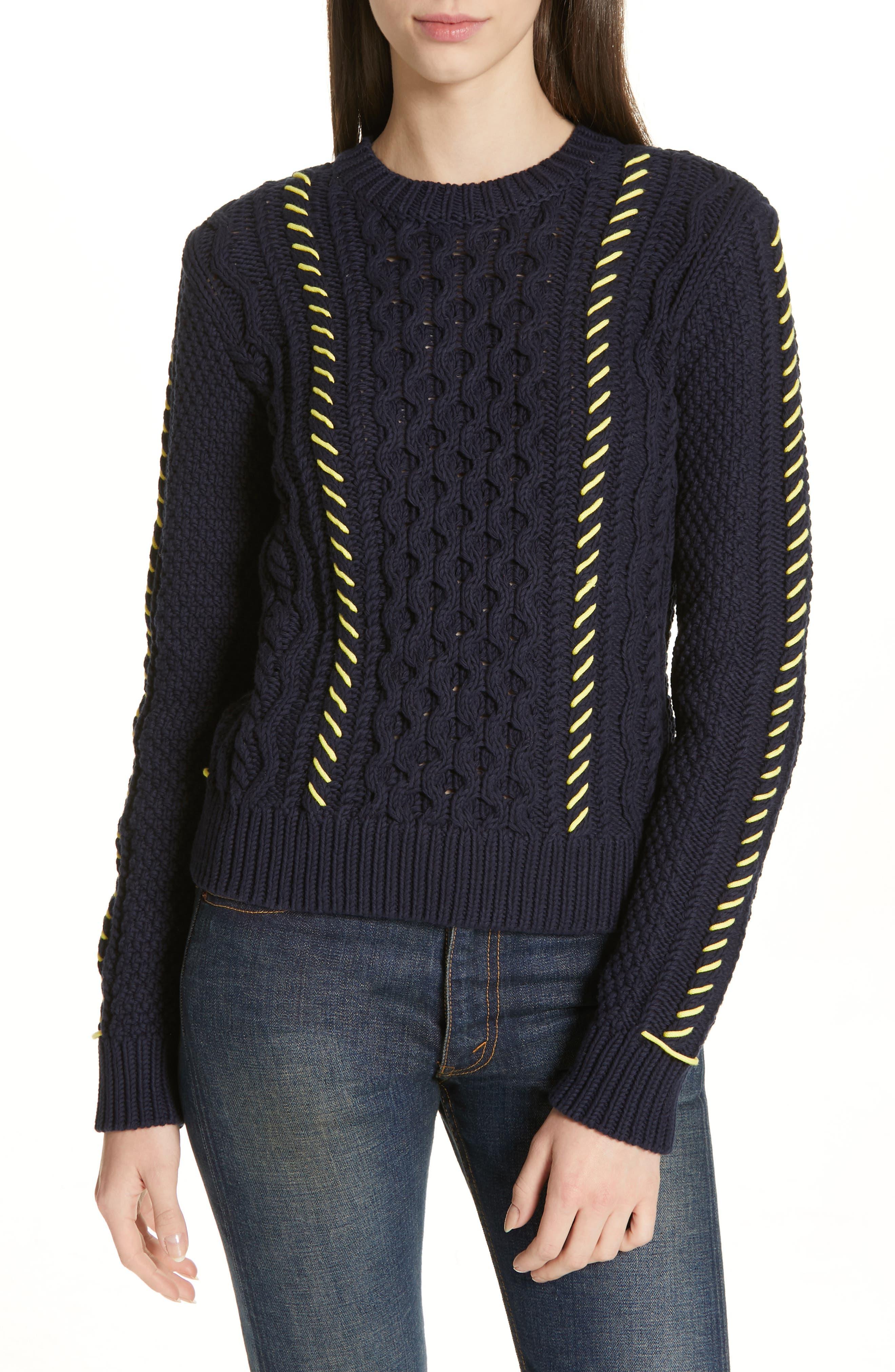 LA LIGNE Cotton Fisherman Sweater in Navy Yellow