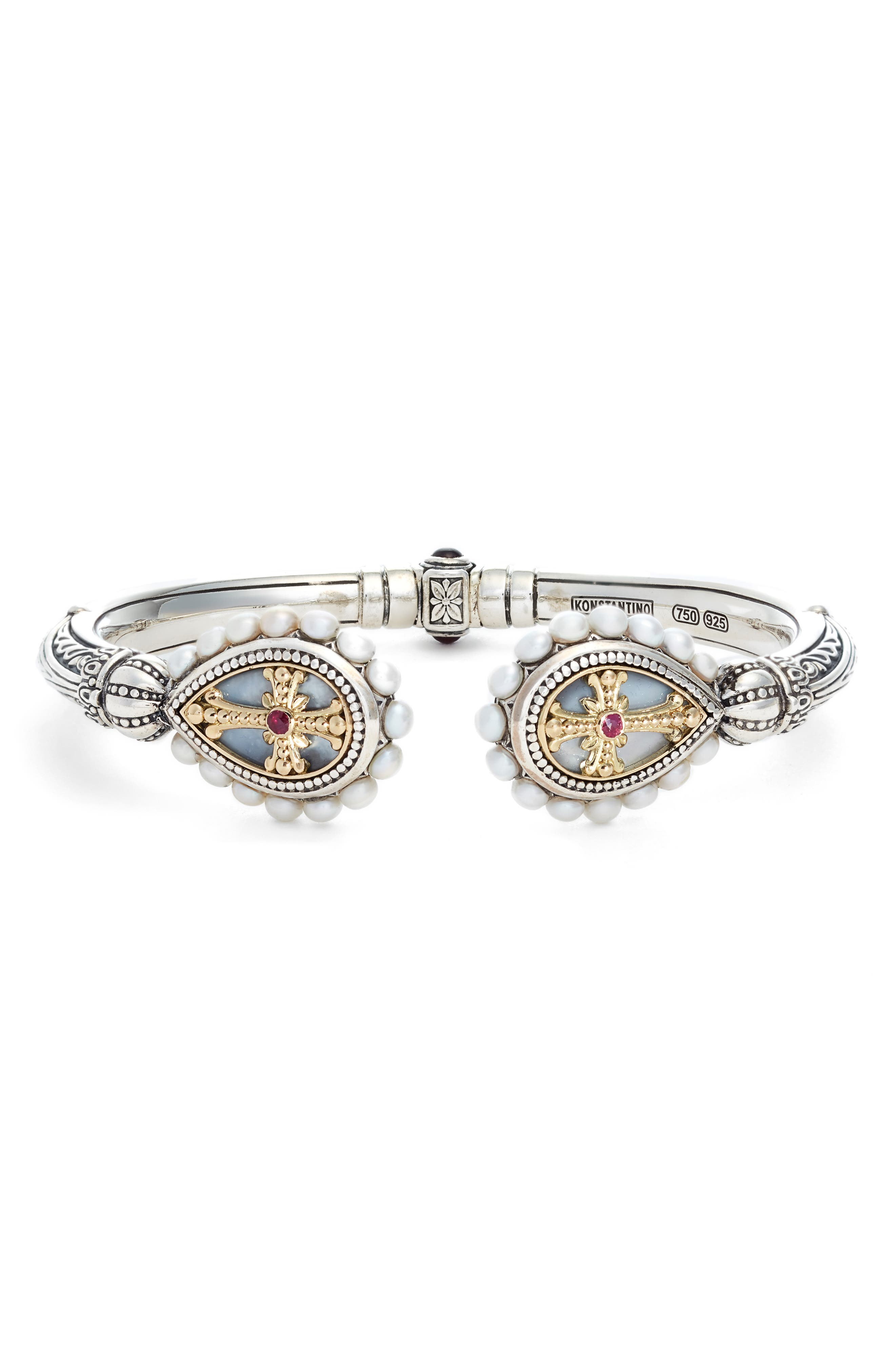 Etched Sterling Pearl & Ruby Hinged Bracelet,                             Main thumbnail 1, color,                             SILVER/ GOLD/ WHITE