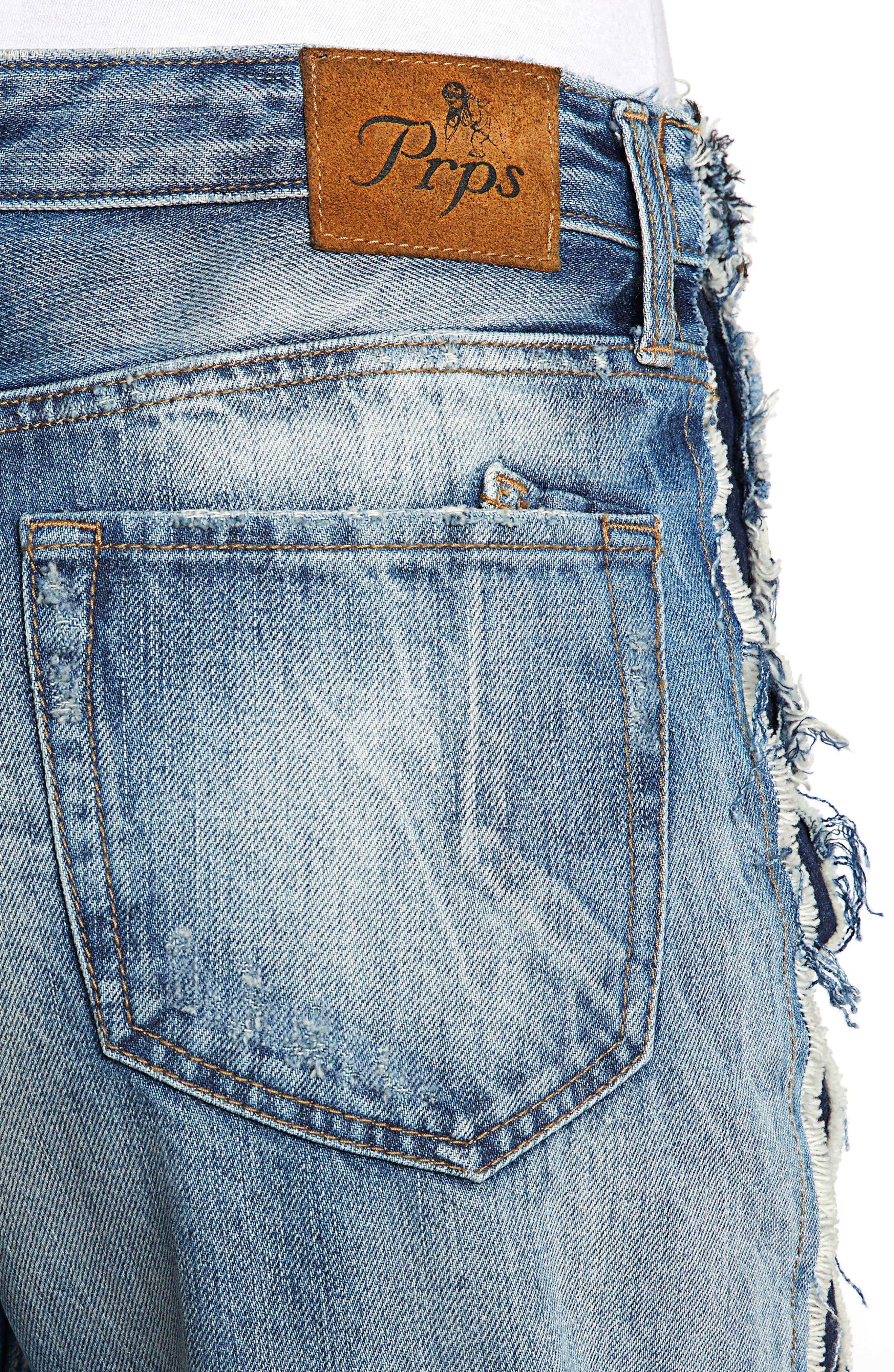 Bel Air High Waist Contrast Seam Boyfriend Jeans,                             Alternate thumbnail 4, color,                             490