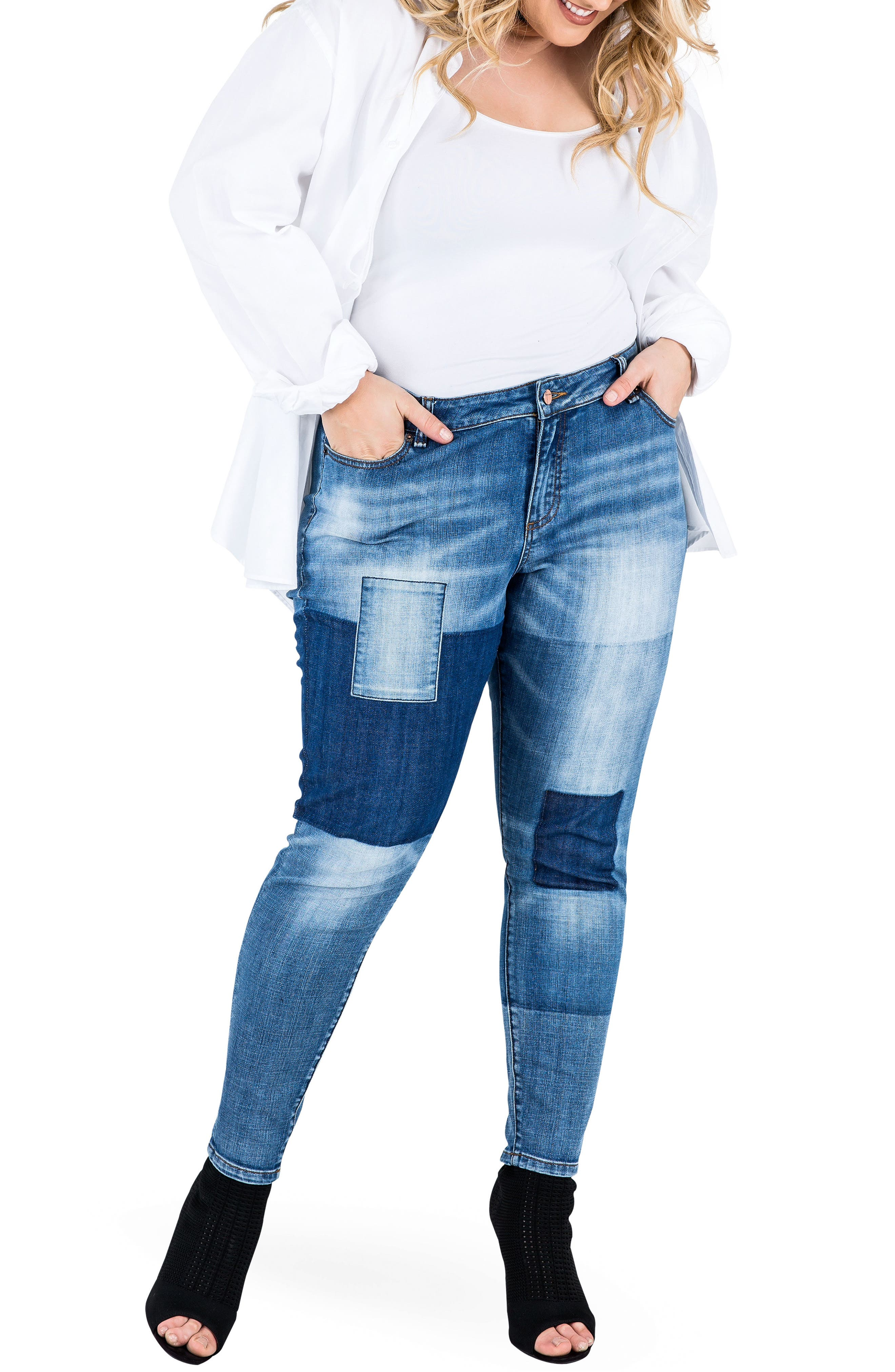 Isabel Colorblock Skinny Jeans,                             Alternate thumbnail 4, color,                             PERIWINKLE