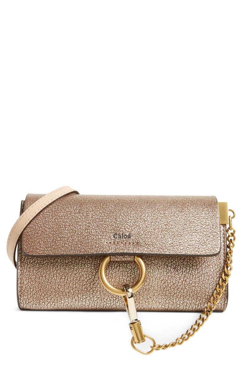 Chloé Nano Faye Metallic Leather Shoulder Bag  cfab9048703f