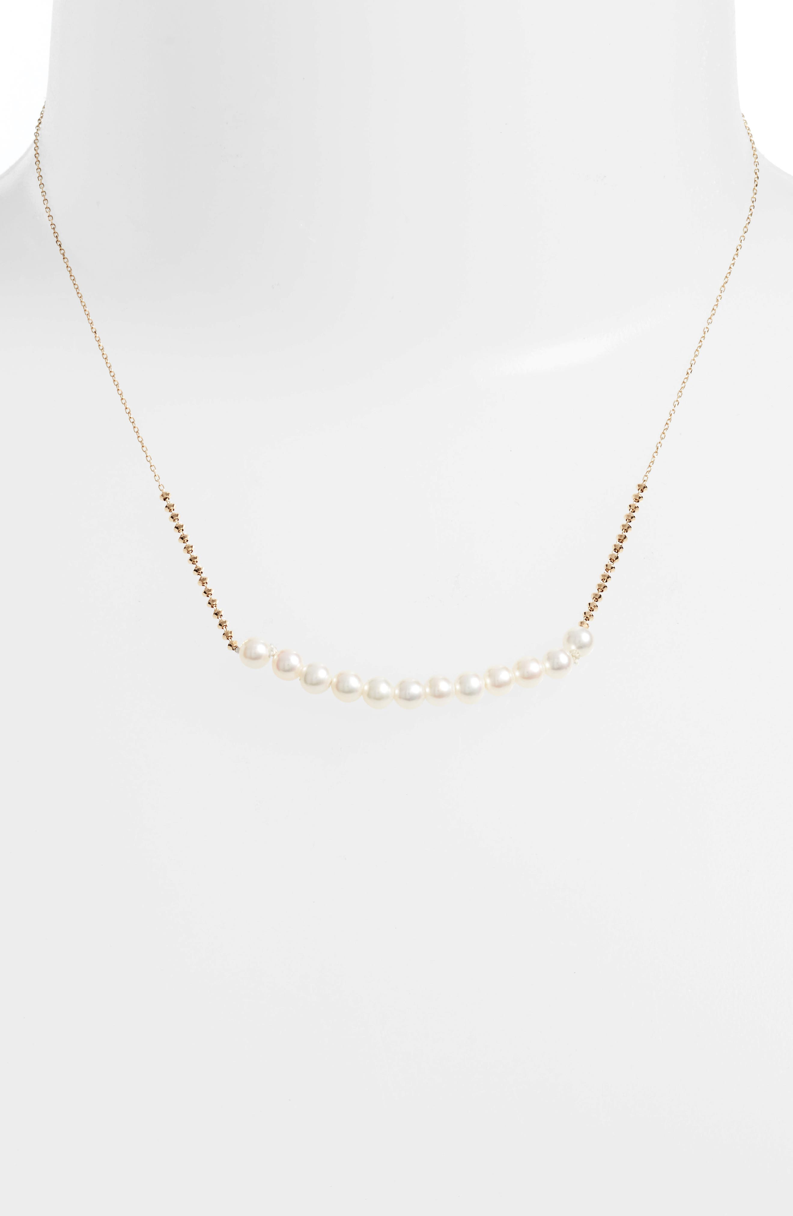 Beaded Pearl Necklace,                             Alternate thumbnail 2, color,                             YELLOW GOLD/ WHITE PEARL