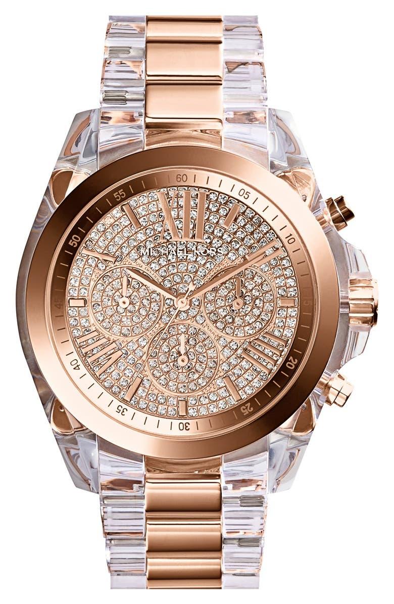 db80ed4d147a MICHAEL MICHAEL KORS Michael Kors  Bradshaw  Pavé Dial Chronograph Resin Bracelet  Watch