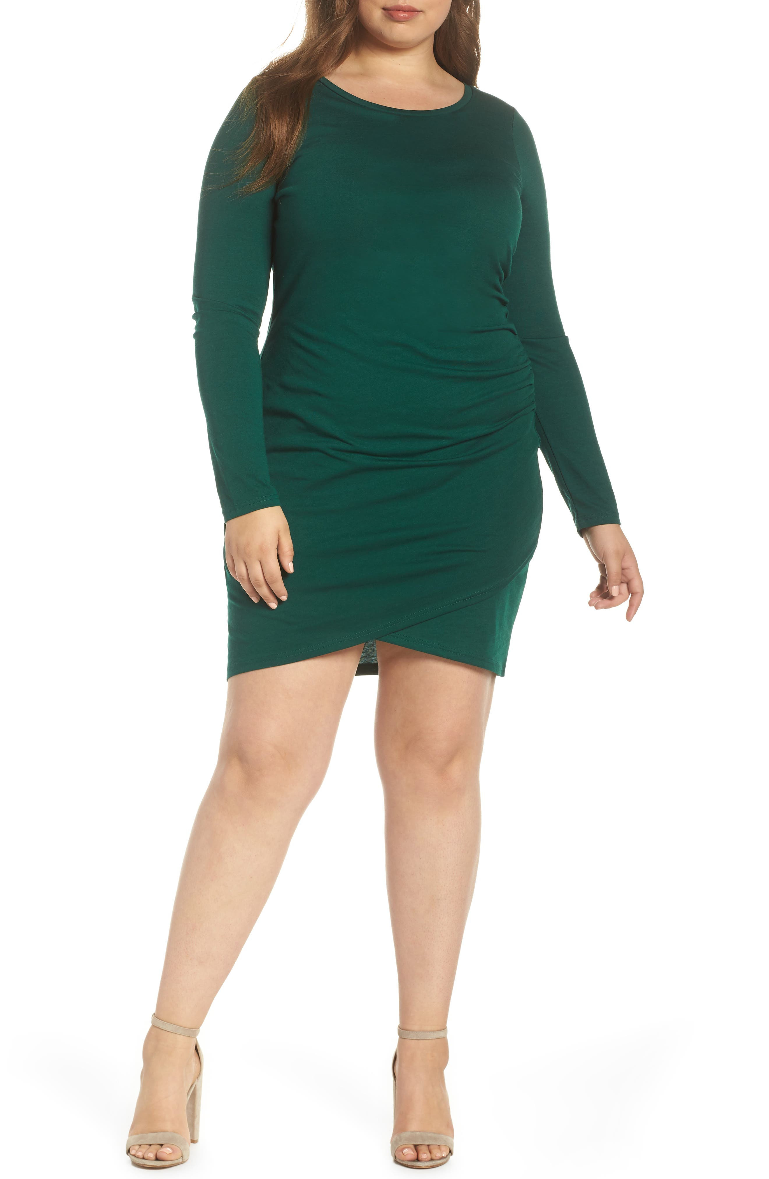 Ruched Body-Con Dress,                             Main thumbnail 1, color,                             GREEN BOTANICAL