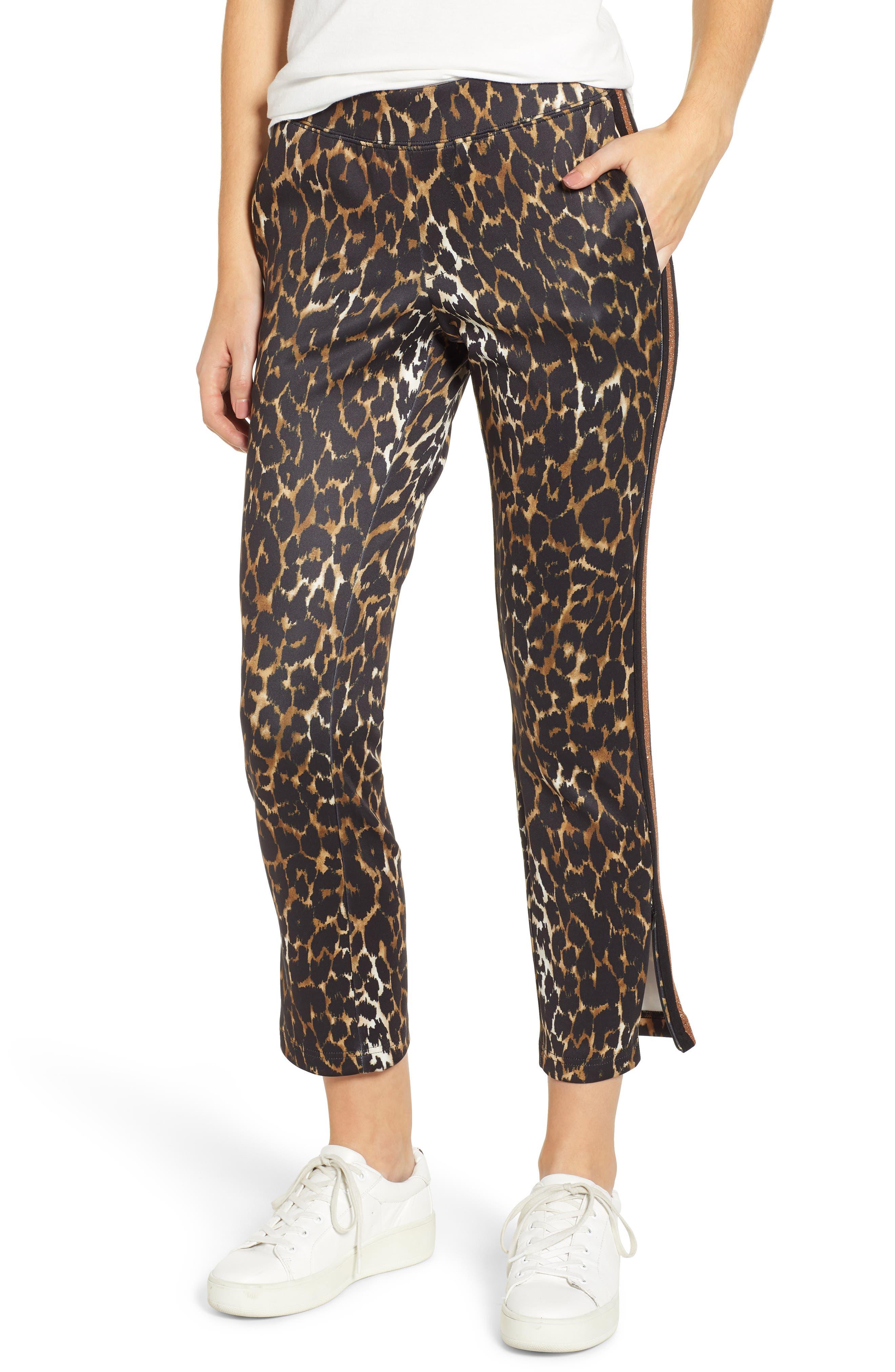 Leopard Track Pants,                             Main thumbnail 1, color,                             LEOPARD