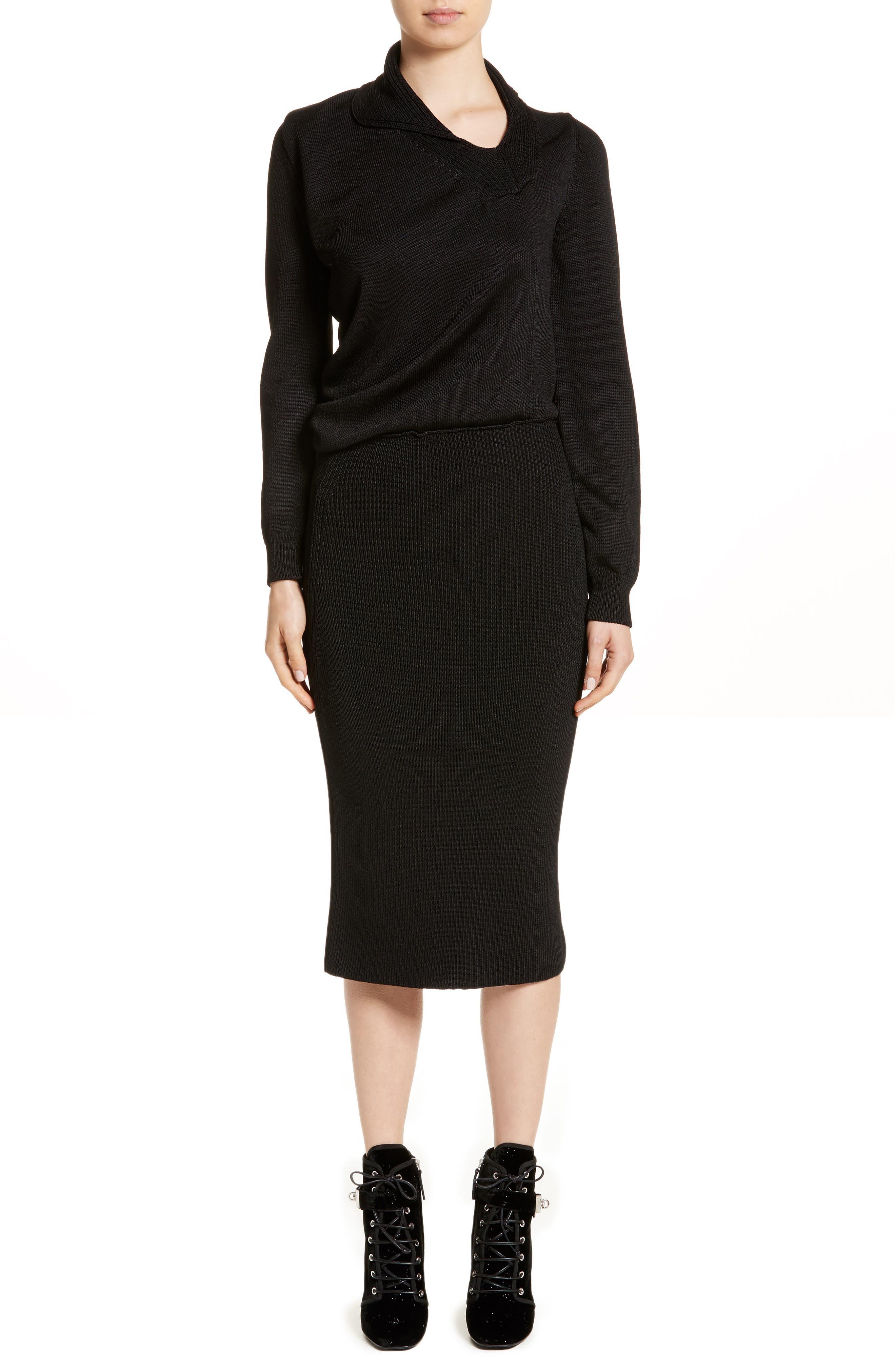 Drape Knit Dress,                             Main thumbnail 1, color,                             001