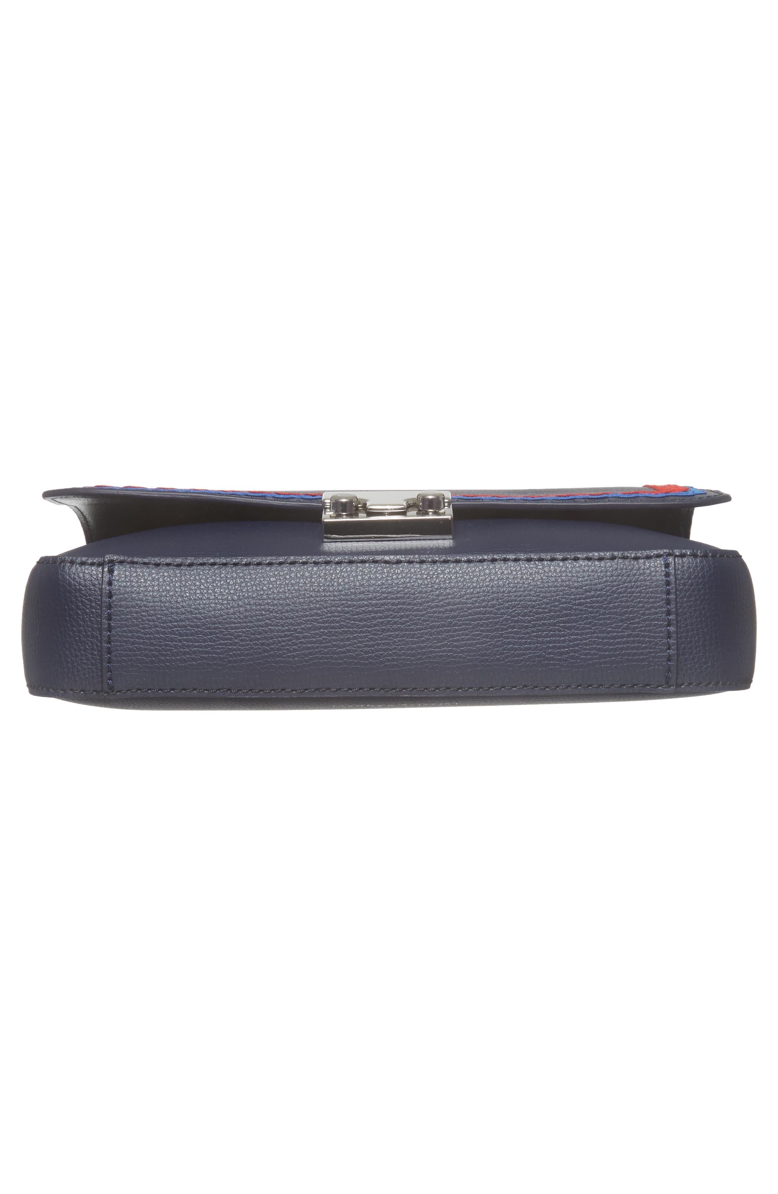 Lock Leather Flap Clutch/Shoulder Bag,                             Alternate thumbnail 6, color,
