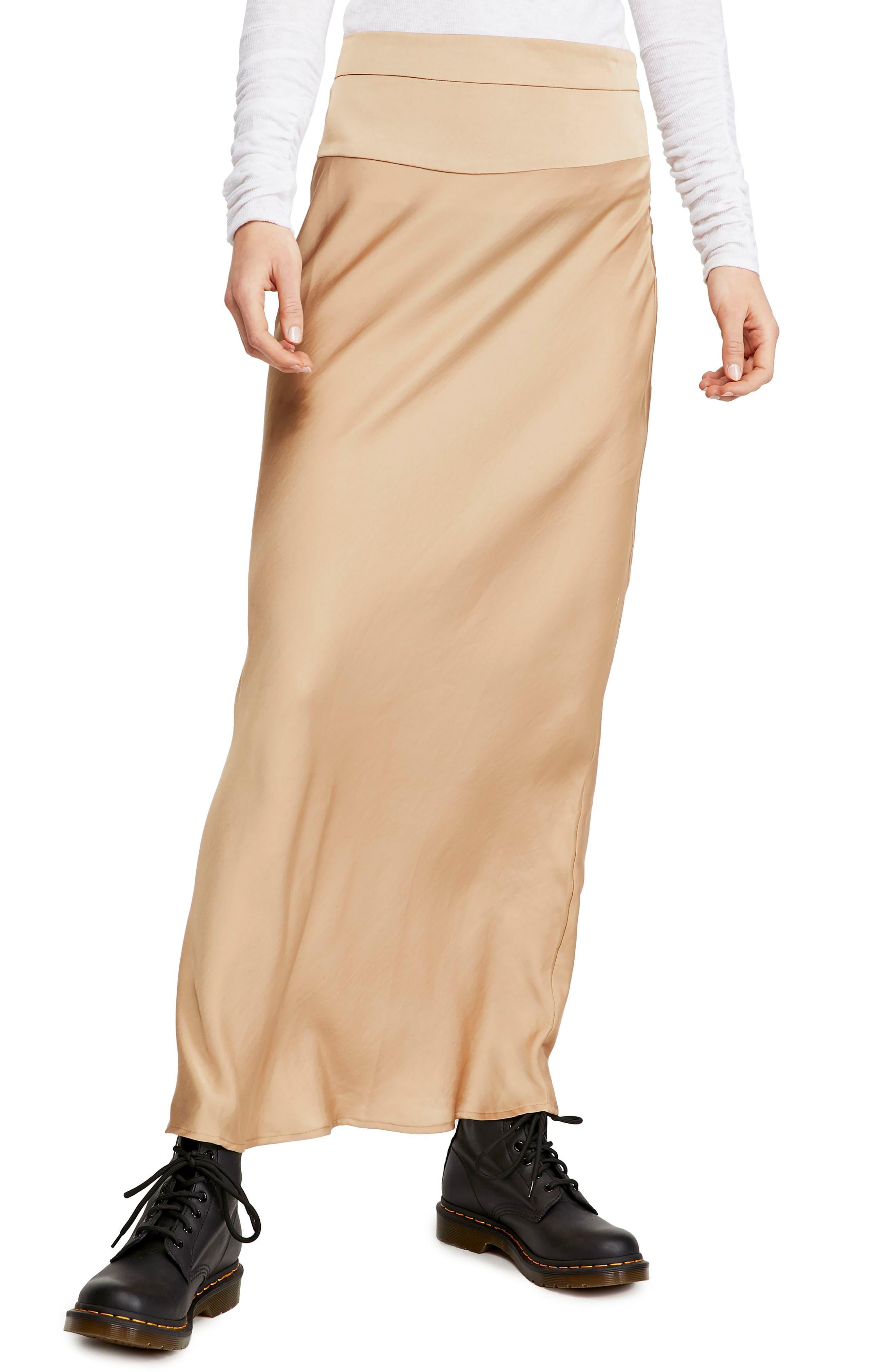 Free People Normani Bias Cut Satin Skirt, Yellow