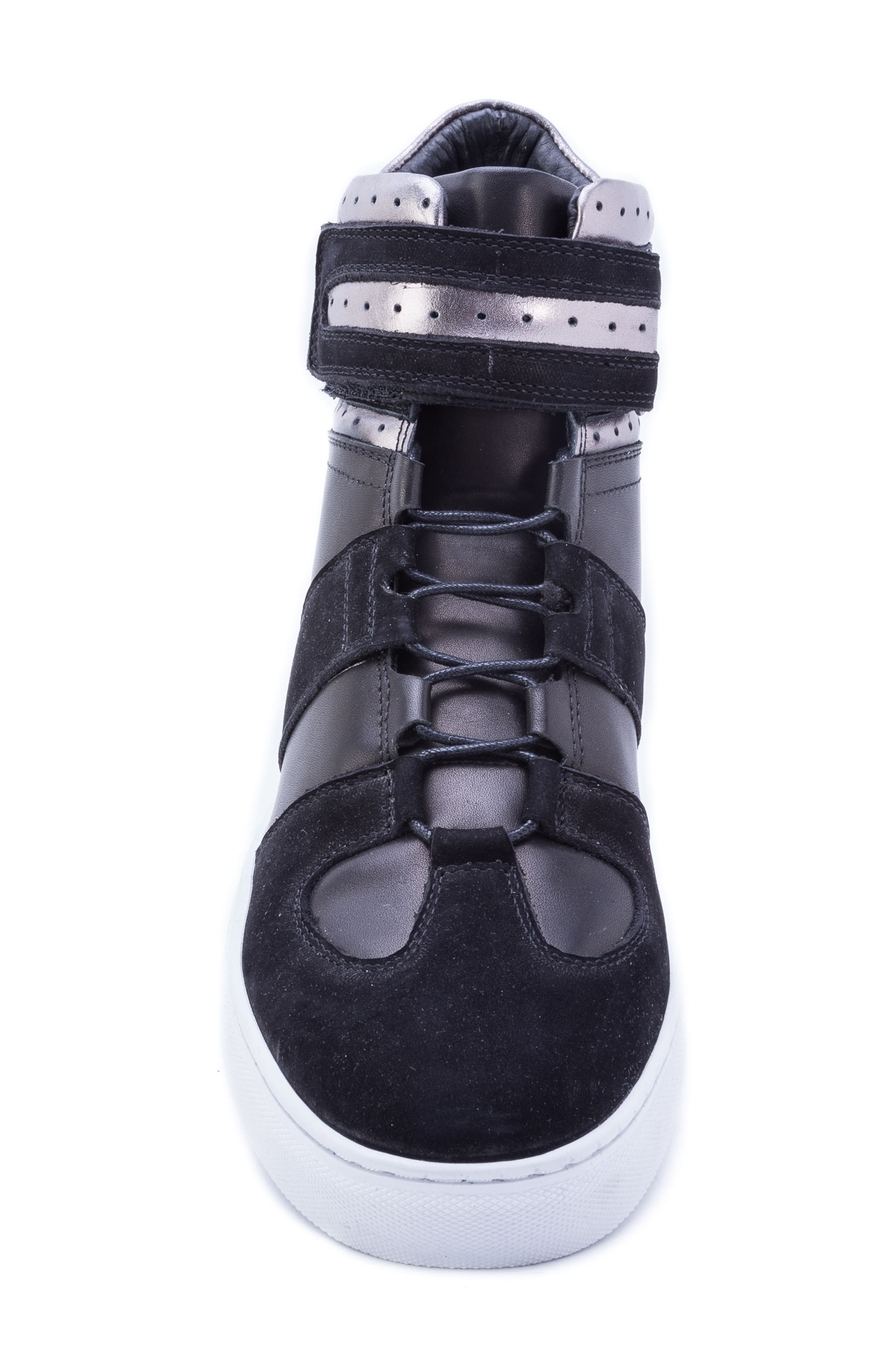 Belmondo High Top Sneaker,                             Alternate thumbnail 5, color,                             BLACK LEATHER/ SUEDE
