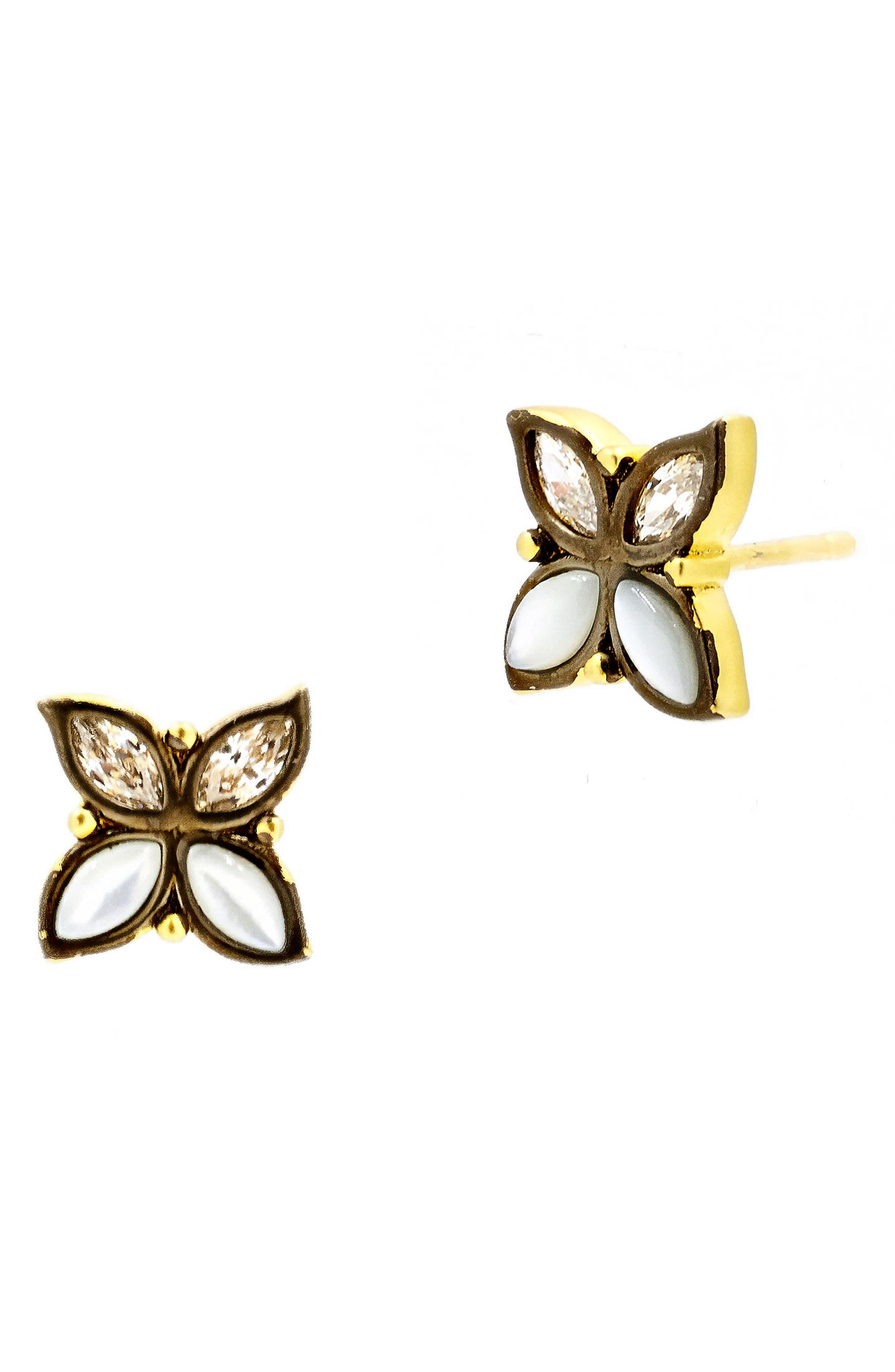 Fleur Bloom Stud Earrings,                             Main thumbnail 1, color,                             GOLD/ BLACK RHODIUM