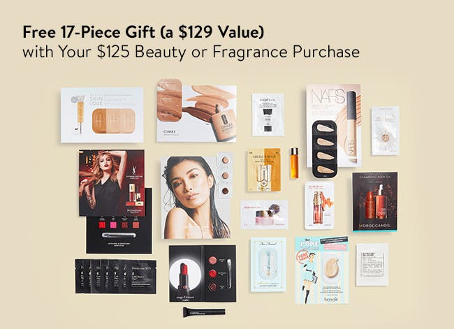 Free 17-piece gift with $125 beauty or fragrance purchase.