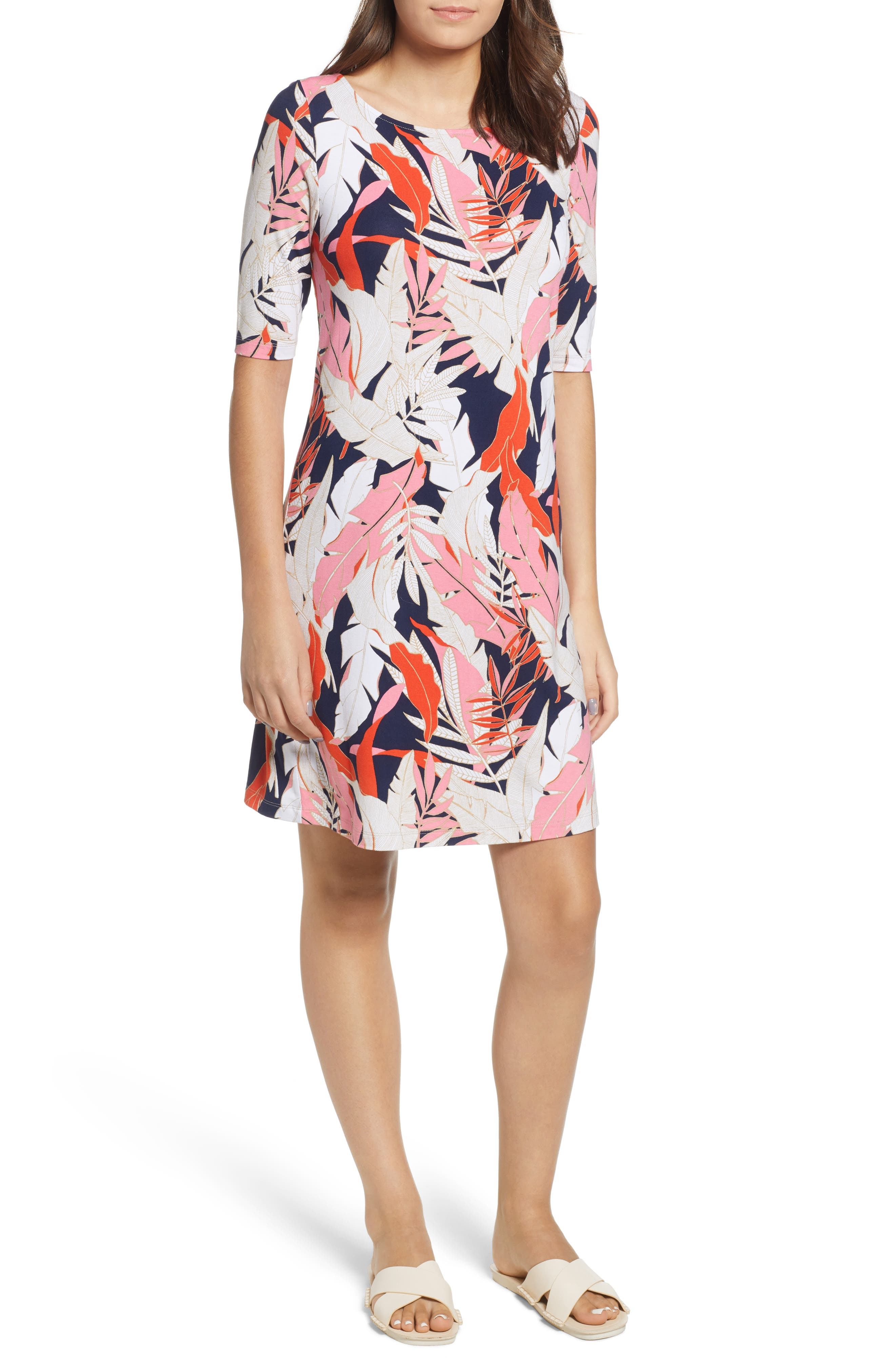 Tommy Bahama Lily Leaf Toss Shift Dress, Pink