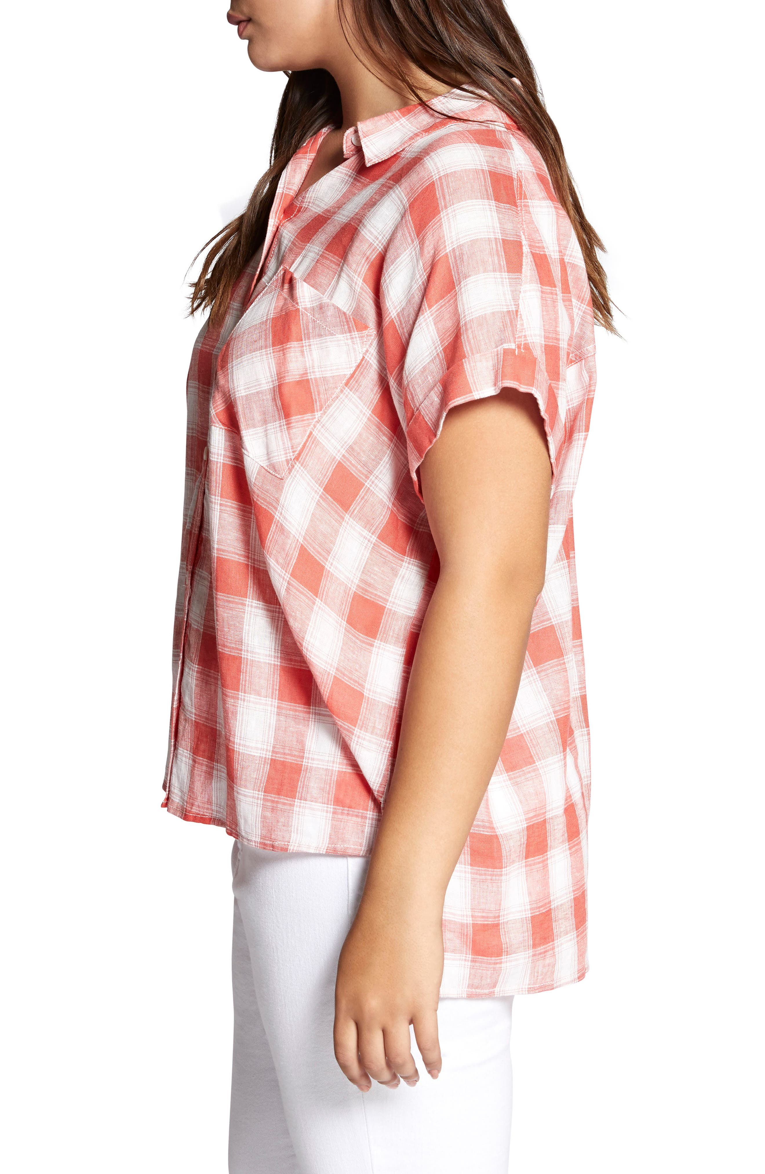 Mod Check Boyfriend Shirt,                             Alternate thumbnail 3, color,                             CHILI PLAID