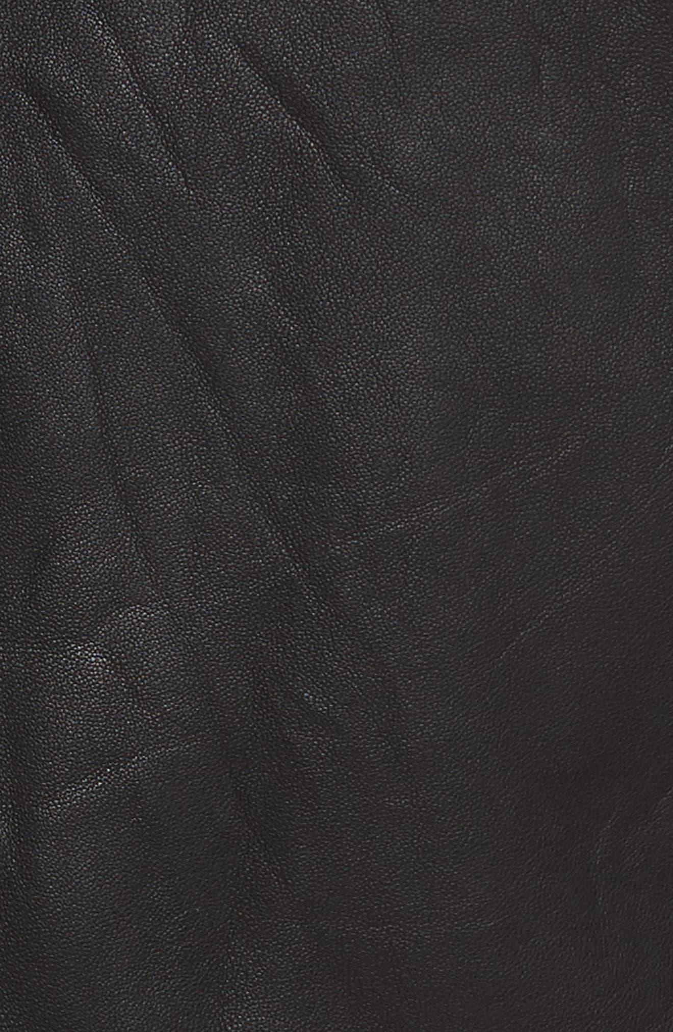 Cross Front Leather Jacket,                             Alternate thumbnail 6, color,                             BLACK