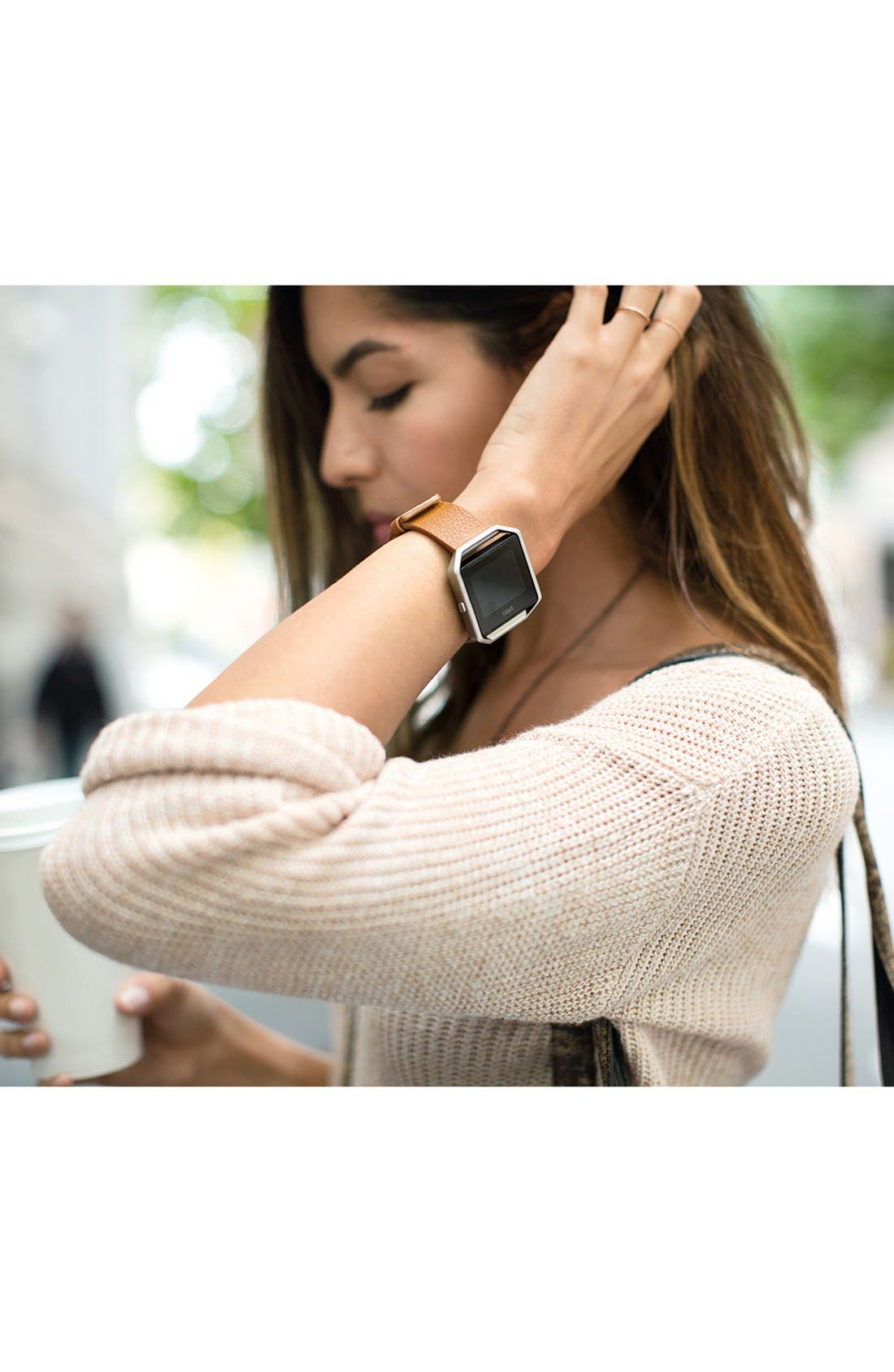 Blaze Leather Smart Watch Band,                             Alternate thumbnail 3, color,                             250