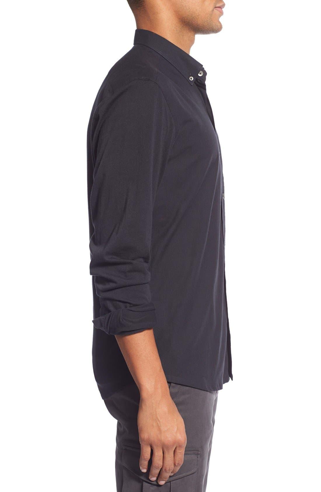 'Reworkd' Slim Fit Solid Mixed Media Sport Shirt,                             Alternate thumbnail 3, color,                             001