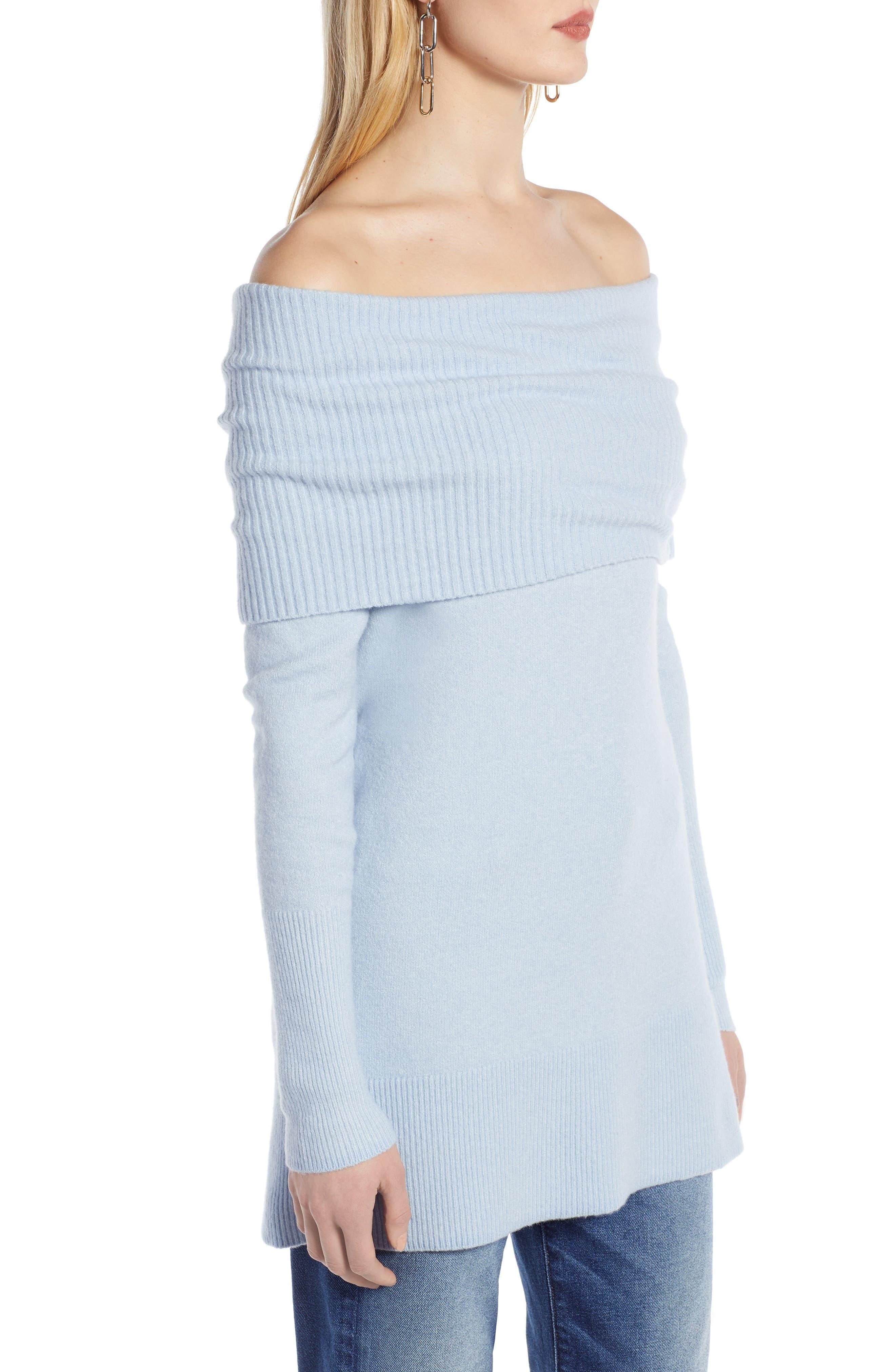 Convertible Neck Sweater,                             Alternate thumbnail 3, color,                             BLUE FOG